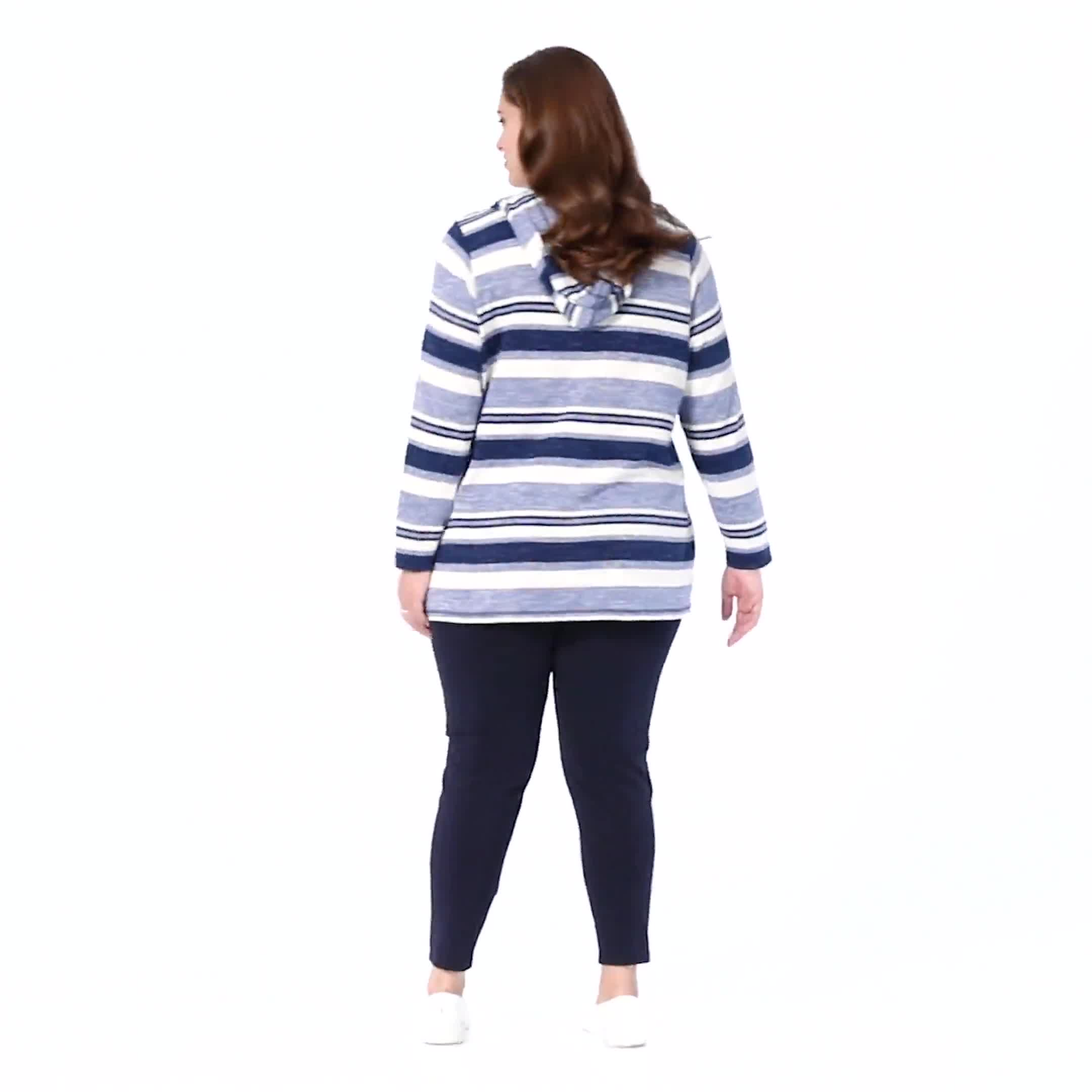 DB Sunday Kangaroo Pocket Stripe Hacci Hoodie - Plus - Video