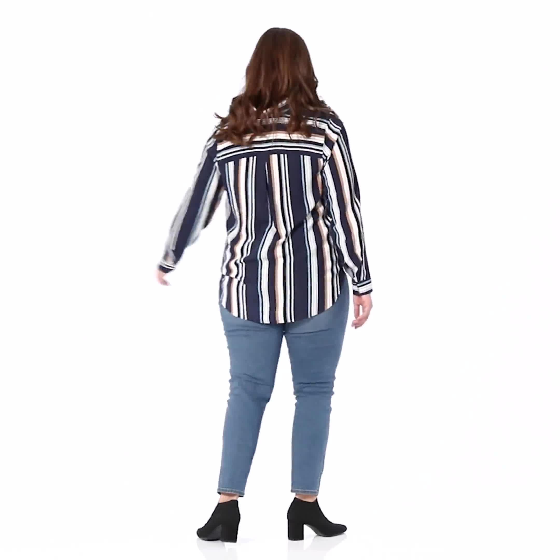 Westport Rayon Stripe Button Front Shirt - Plus - Video