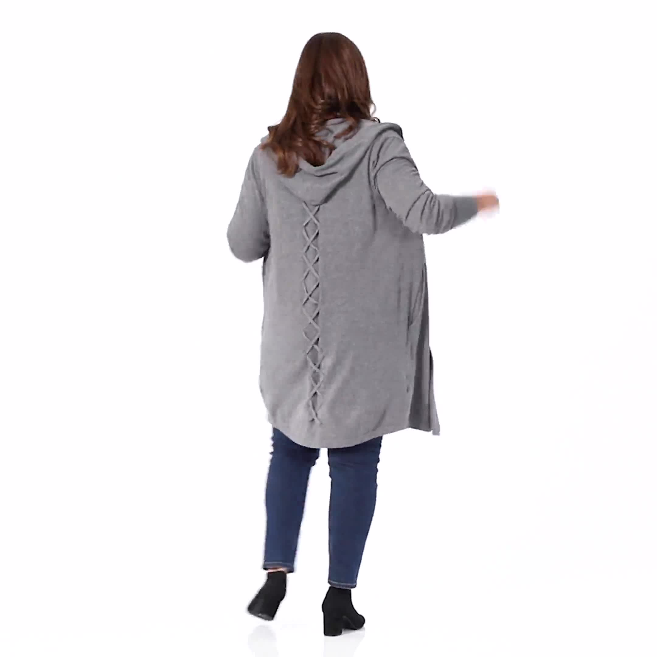 Roz & Ali Crisscross Back Sweater Duster - Plus - Video