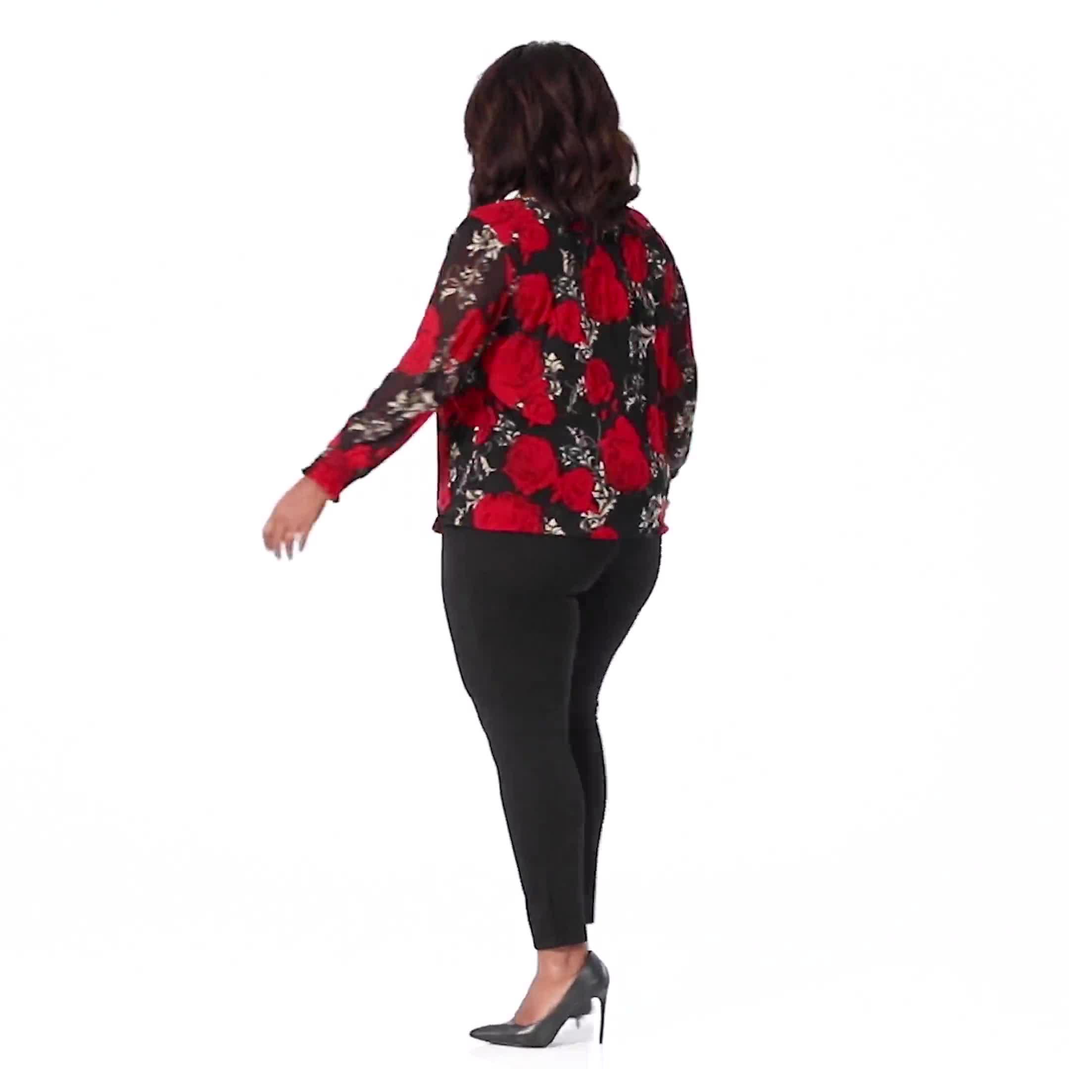 Roz & Ali Floral Bubble Hem Blouse - Plus - Video