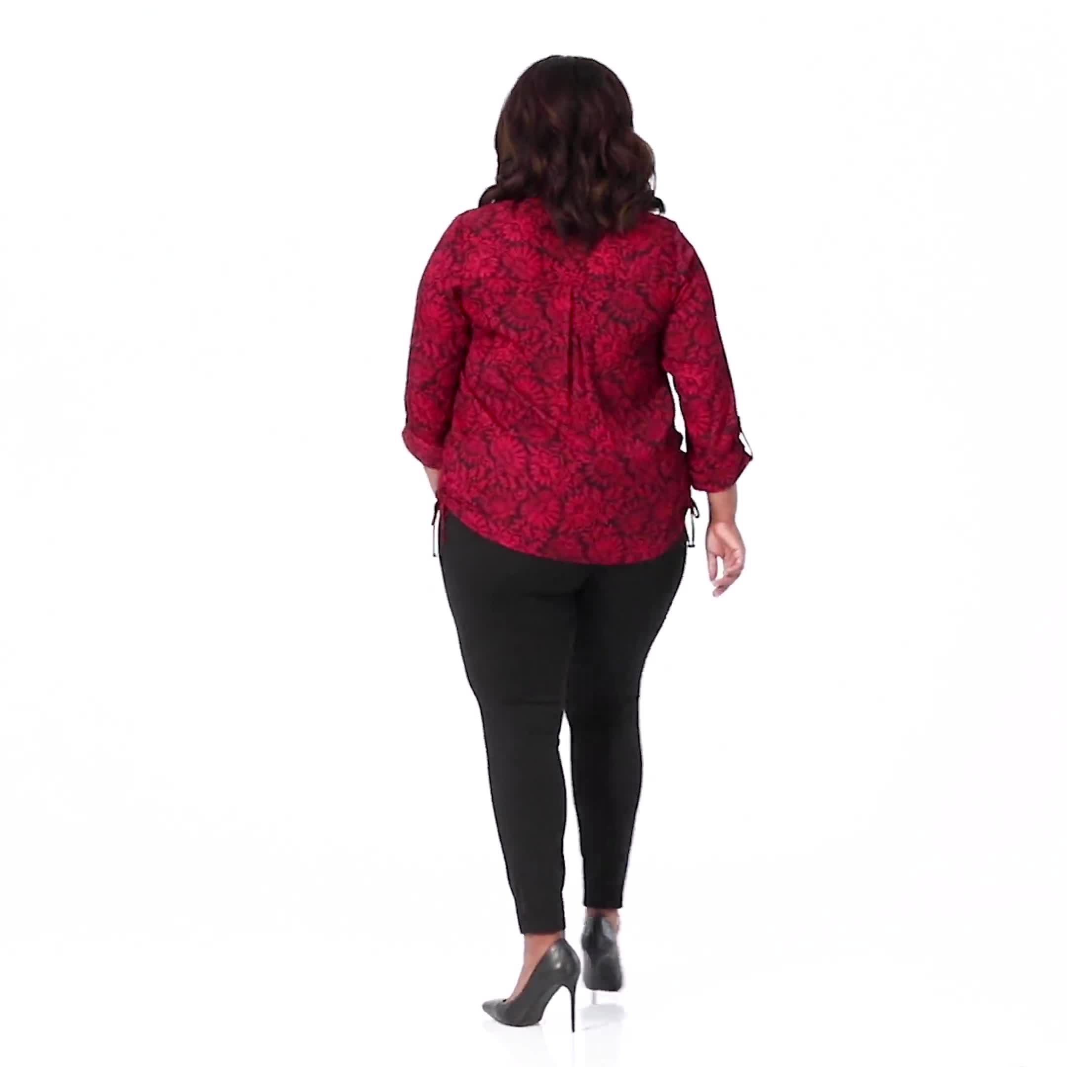 Roz & Ali Red Floral Side Tie Popover Blouse - Video