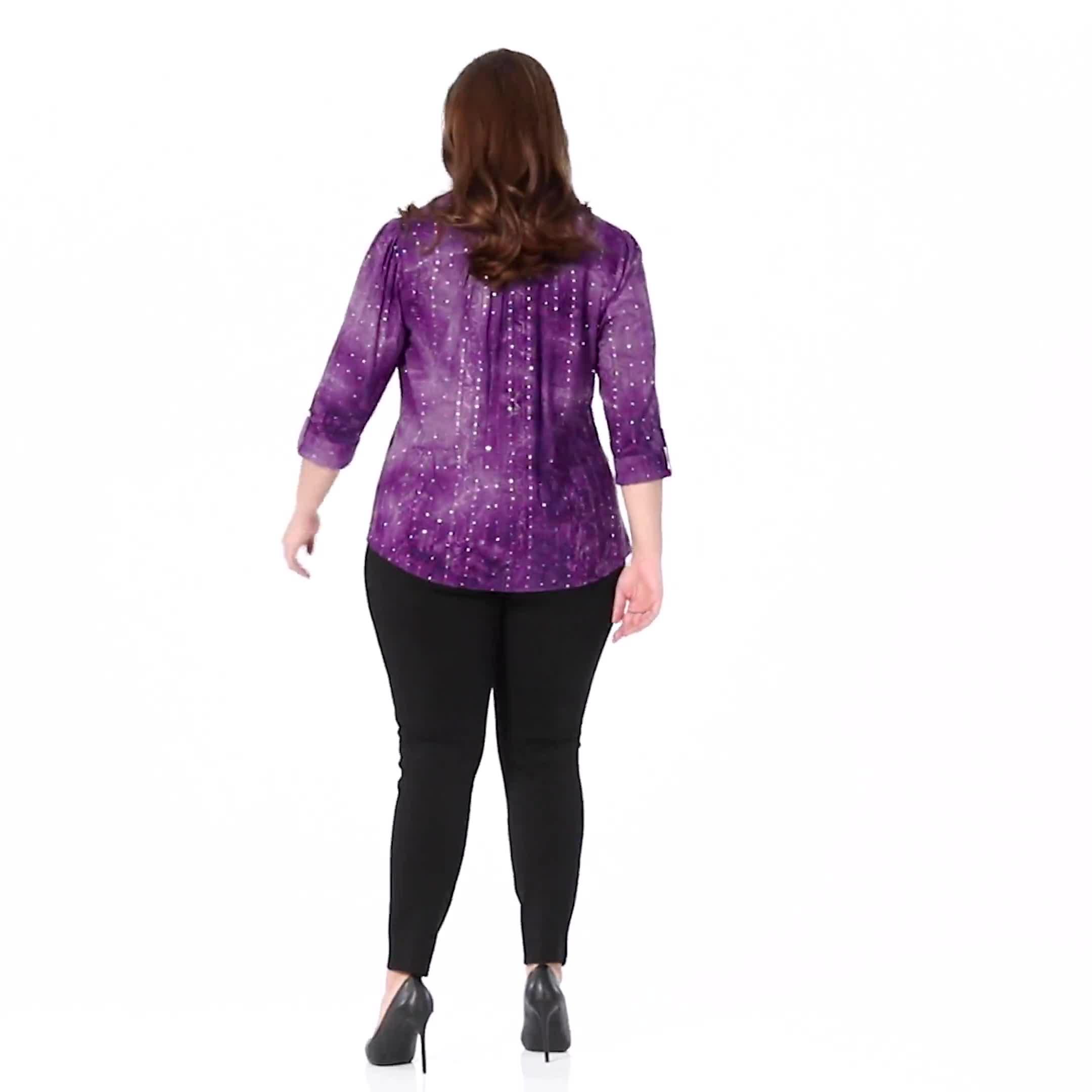 Roz & Ali Purple Sequin Tie Dye Pintuck Popover - Plus - Video