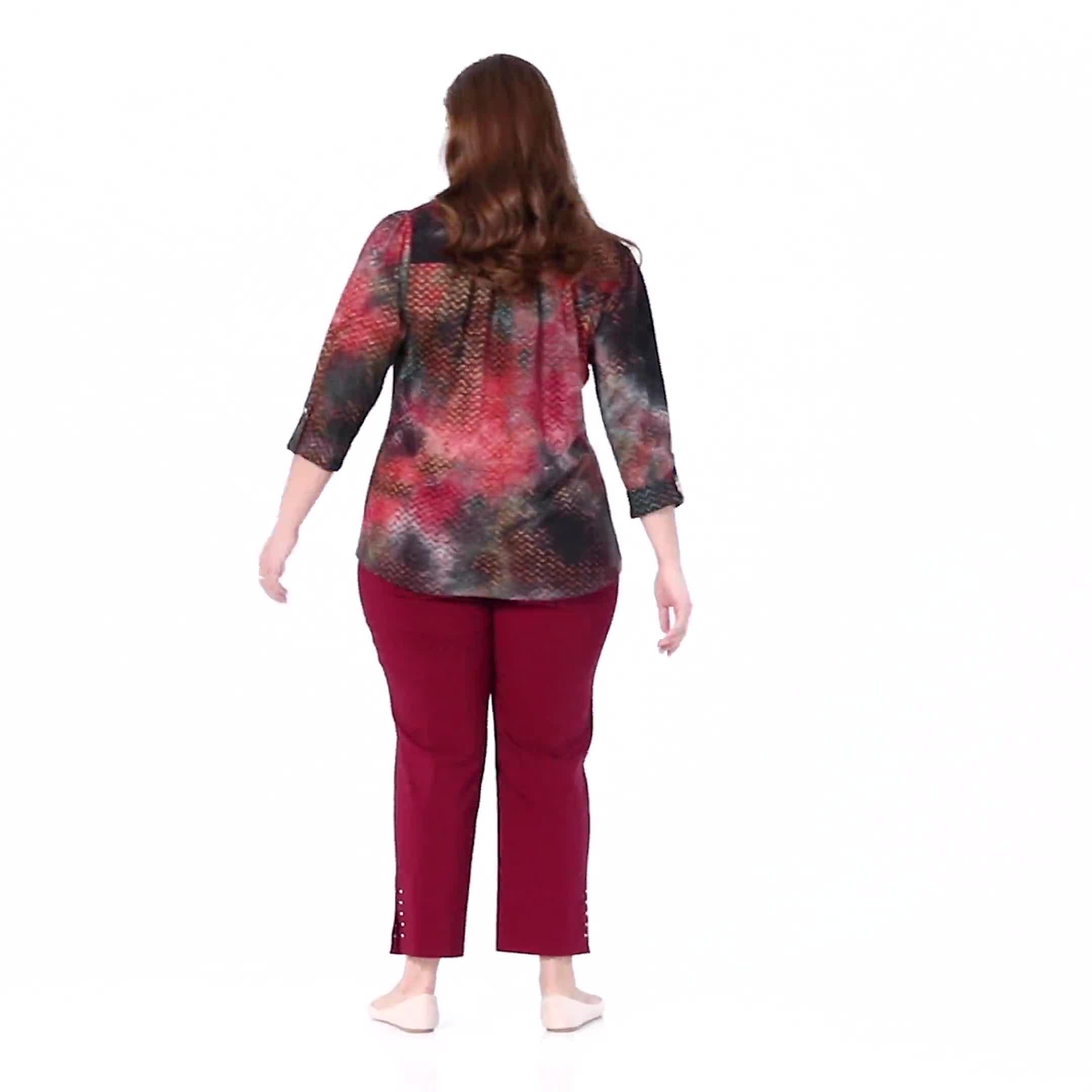 Roz & Ali Lagoon Tie Dye Jaquard Popover - Plus - Video