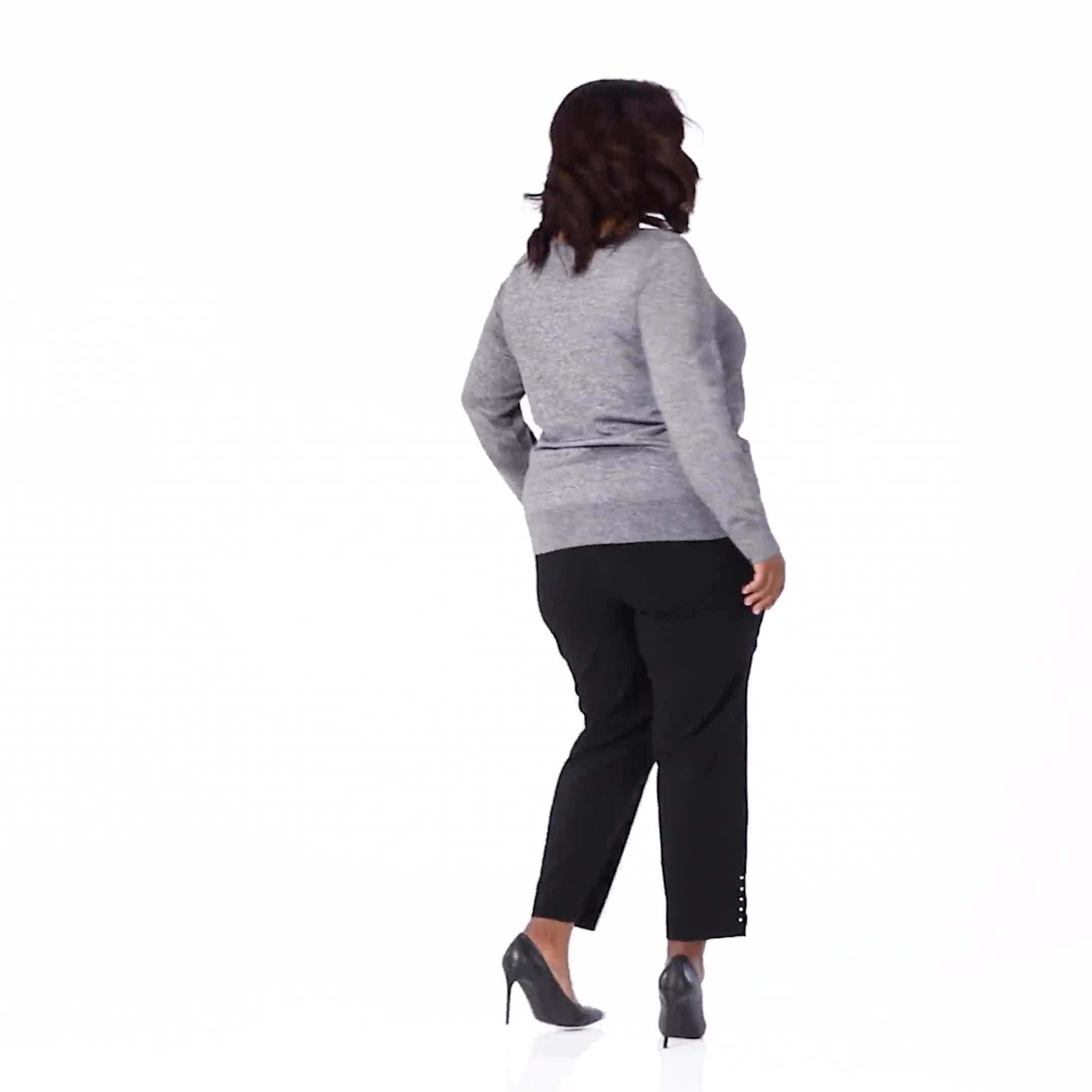 Roz & Ali Side Ruched Curved Hem Sweater - Video