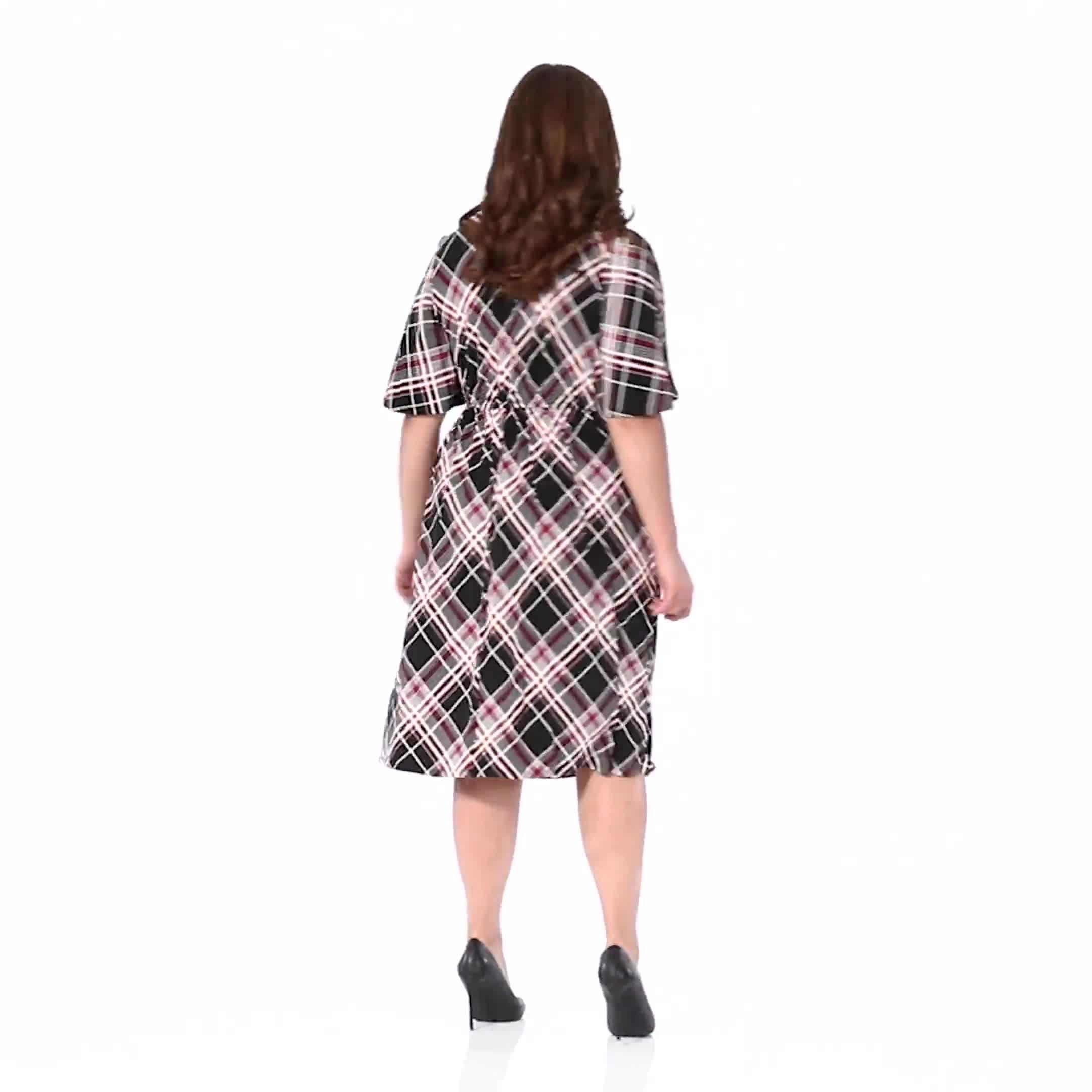 Classic Plaid  Faux Wrap Dress - Plus - Video