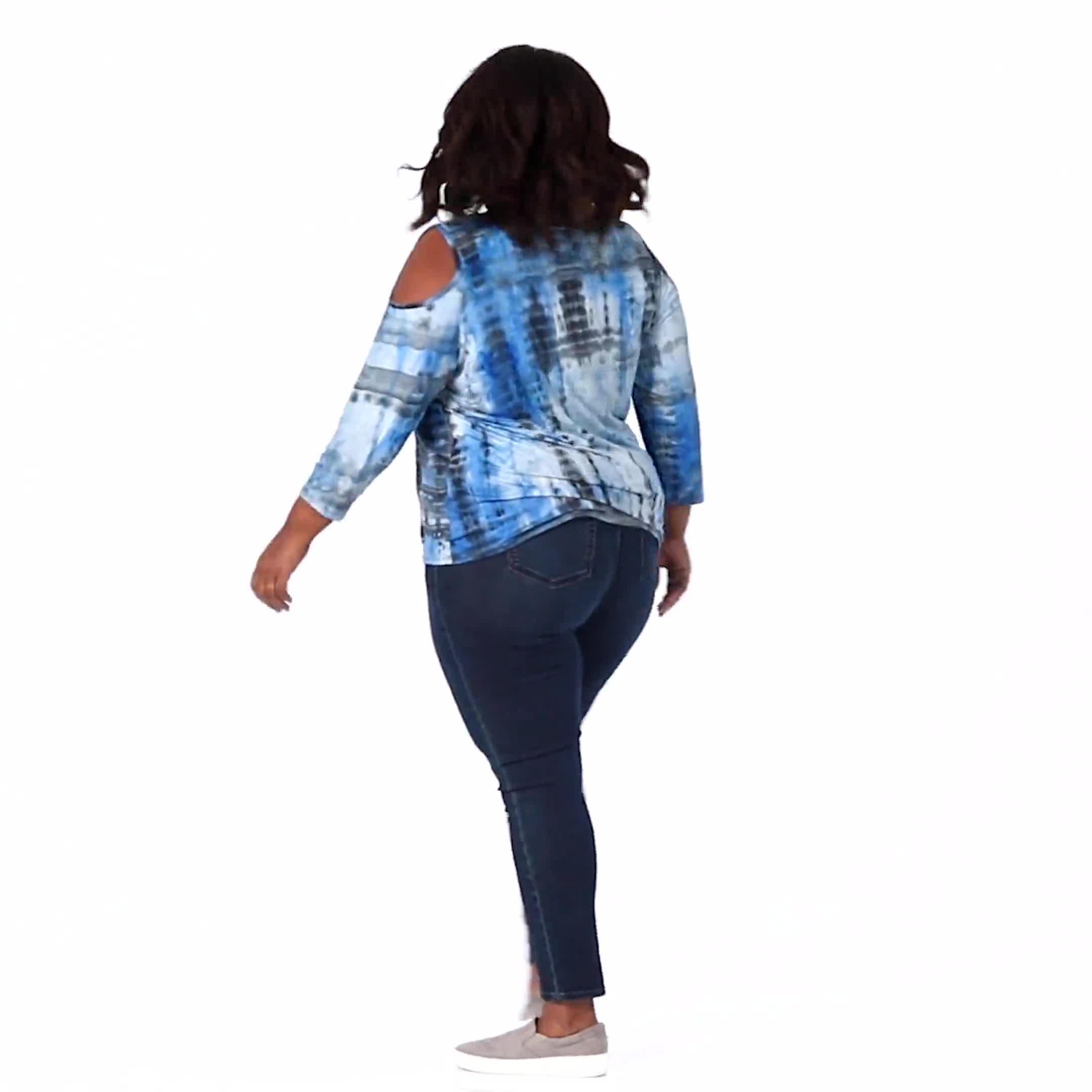 Westport Tie Dye Knit Top - Plus - Video