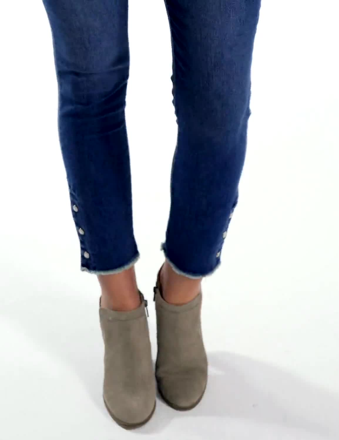 Westport Signature 5 Pocket Skinny Ankle Jean With Snap Button At Ankle - Video