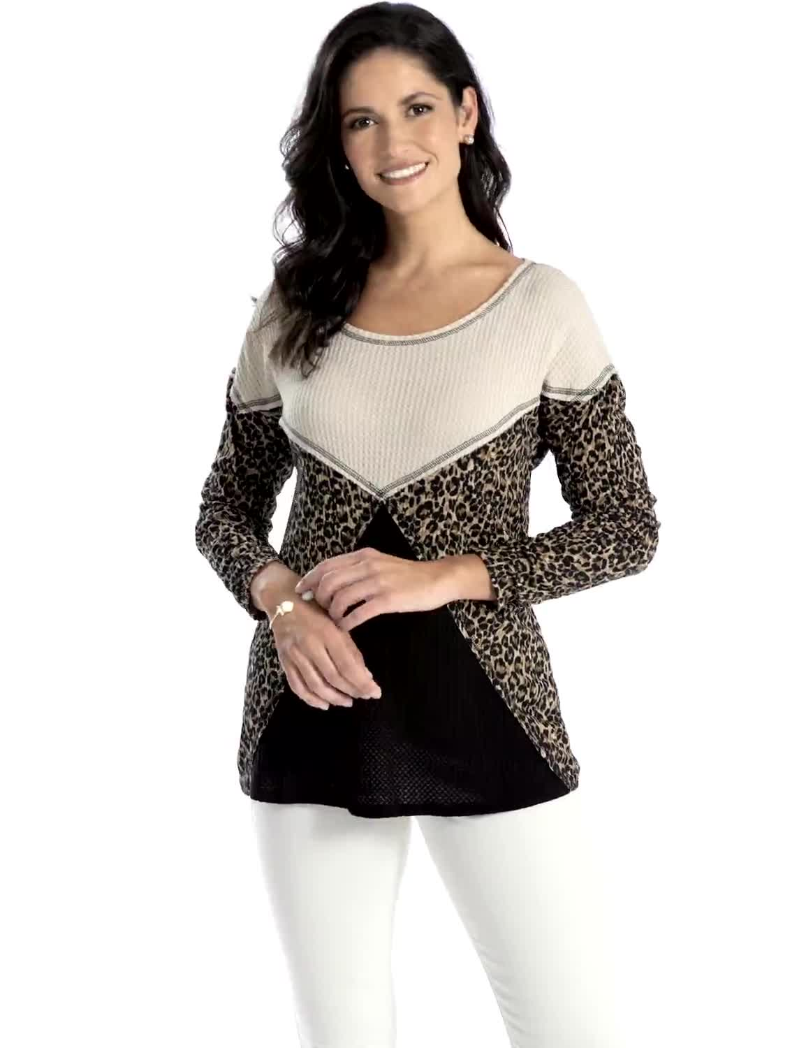 Mixed Animal Thermal Print Knit Top - Video