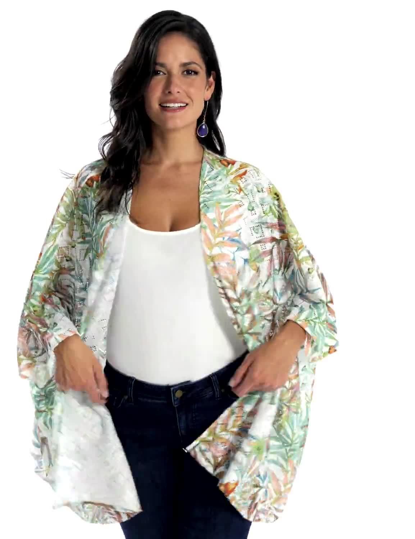 Palm Print Lace Kimono - Video