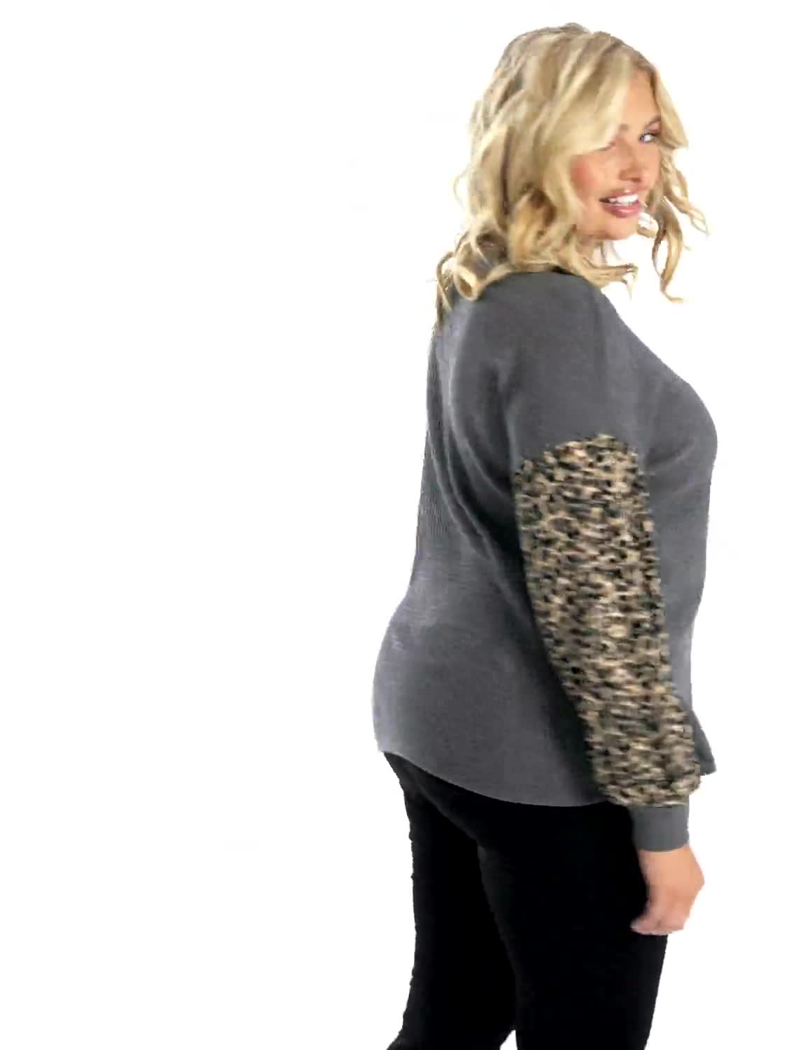 Y Henley Mixed Animal Thermal Knit Top - Plus - Video