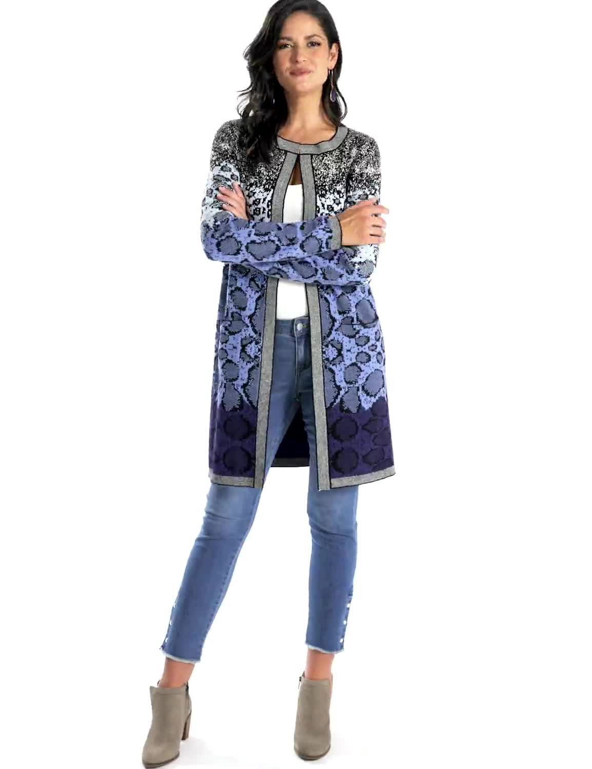 Roz & Ali Ombre Animal Duster Sweater - Misses - Video