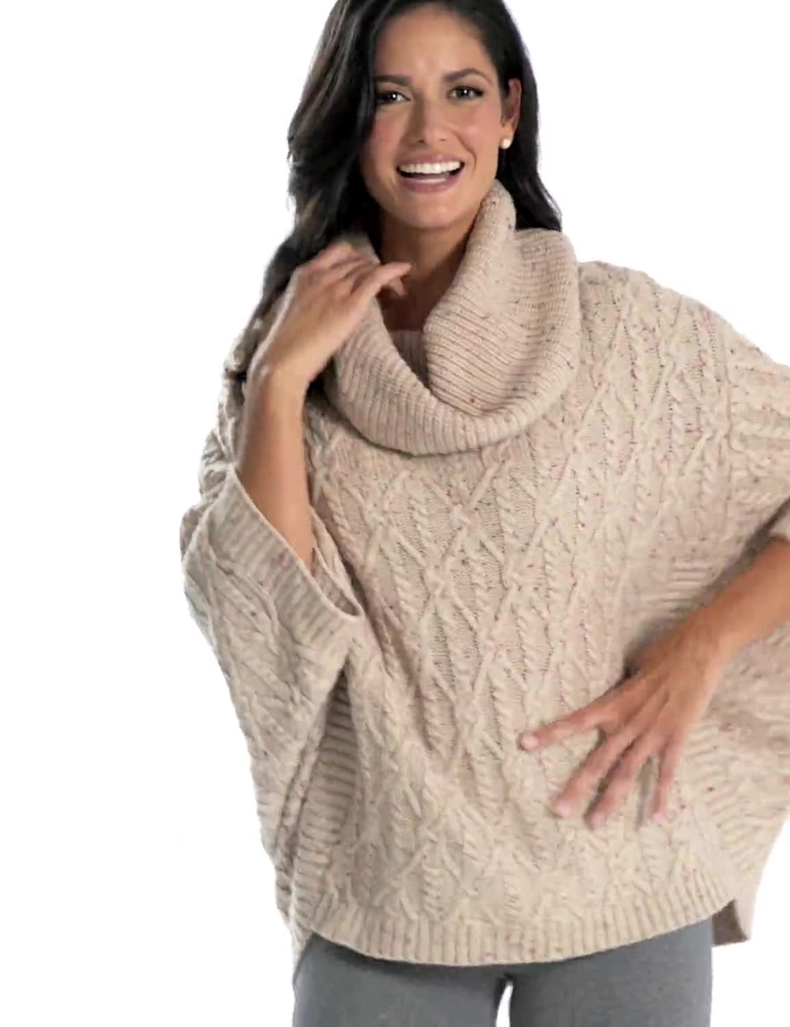Westport Novelty Yarn Poncho Sweater - Misses - Video