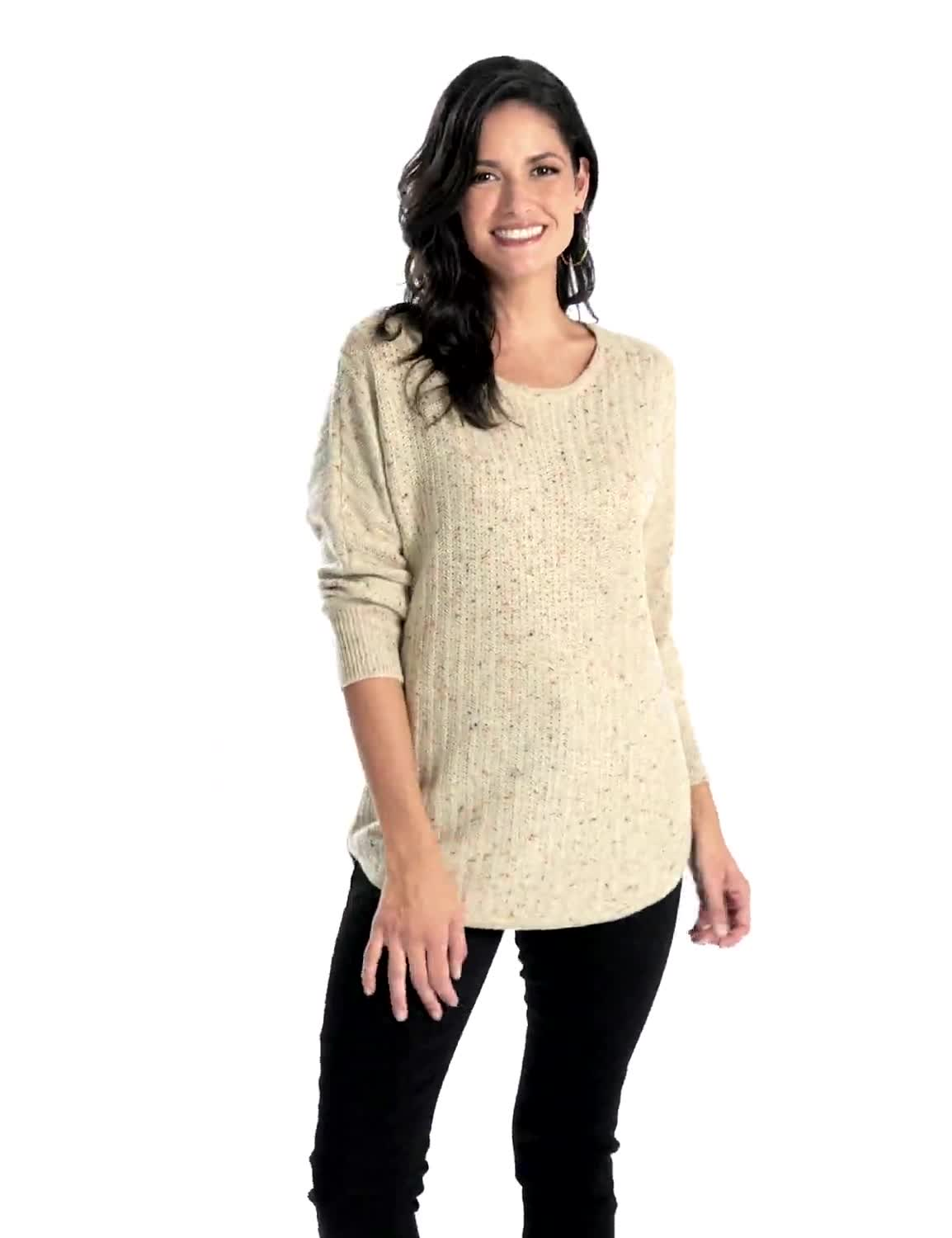 Westport Novelty Yarn Curved Hem Sweater - Misses - Video