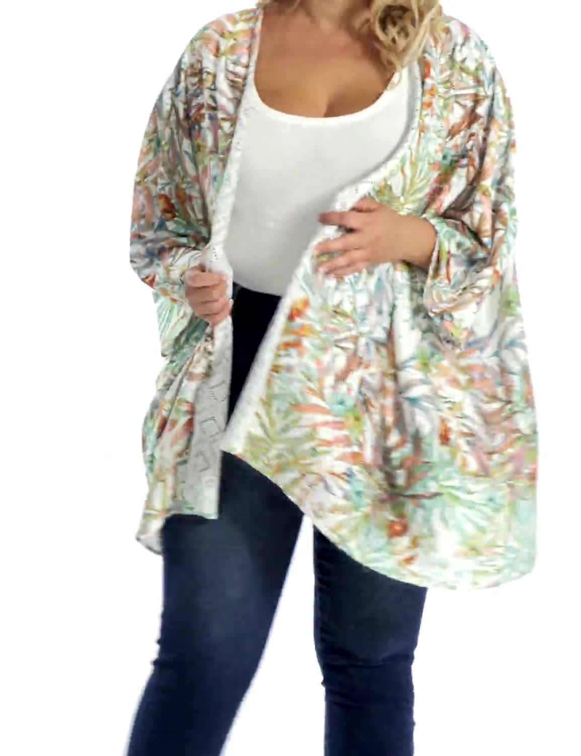 Palm Print Lace Kimono - Plus - Video