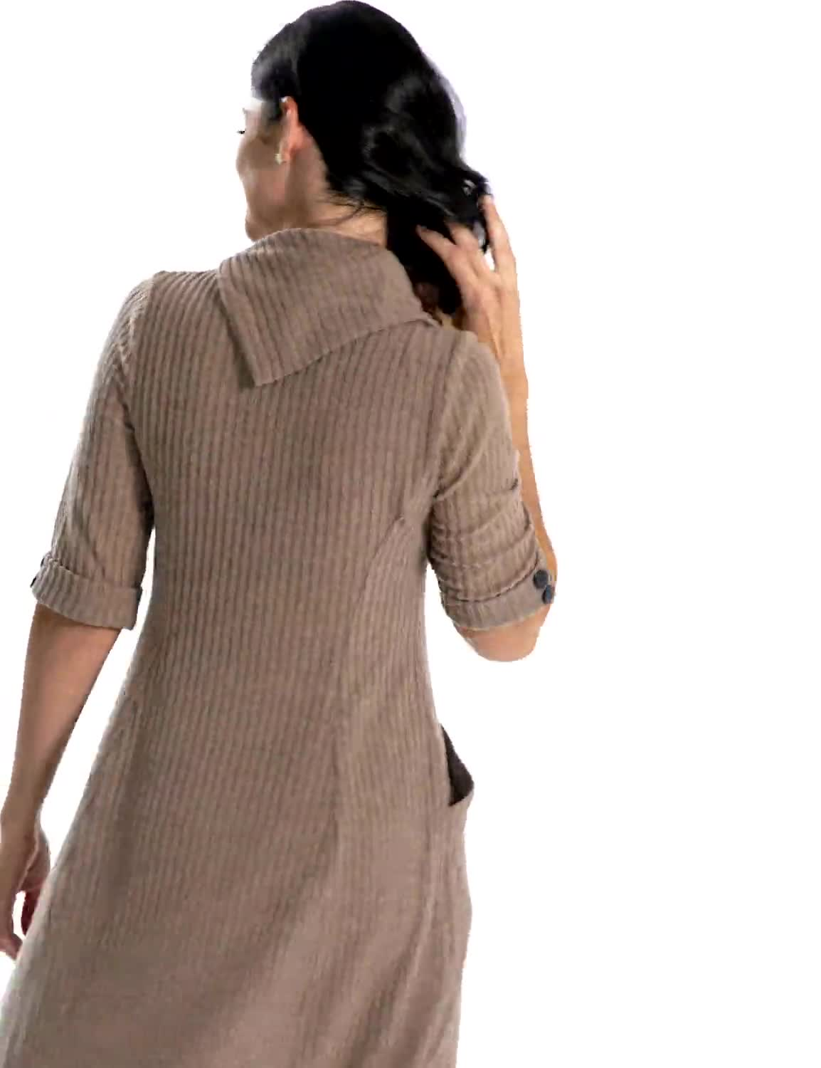 Split Cowl Neck Knit Dress - Misses - Video