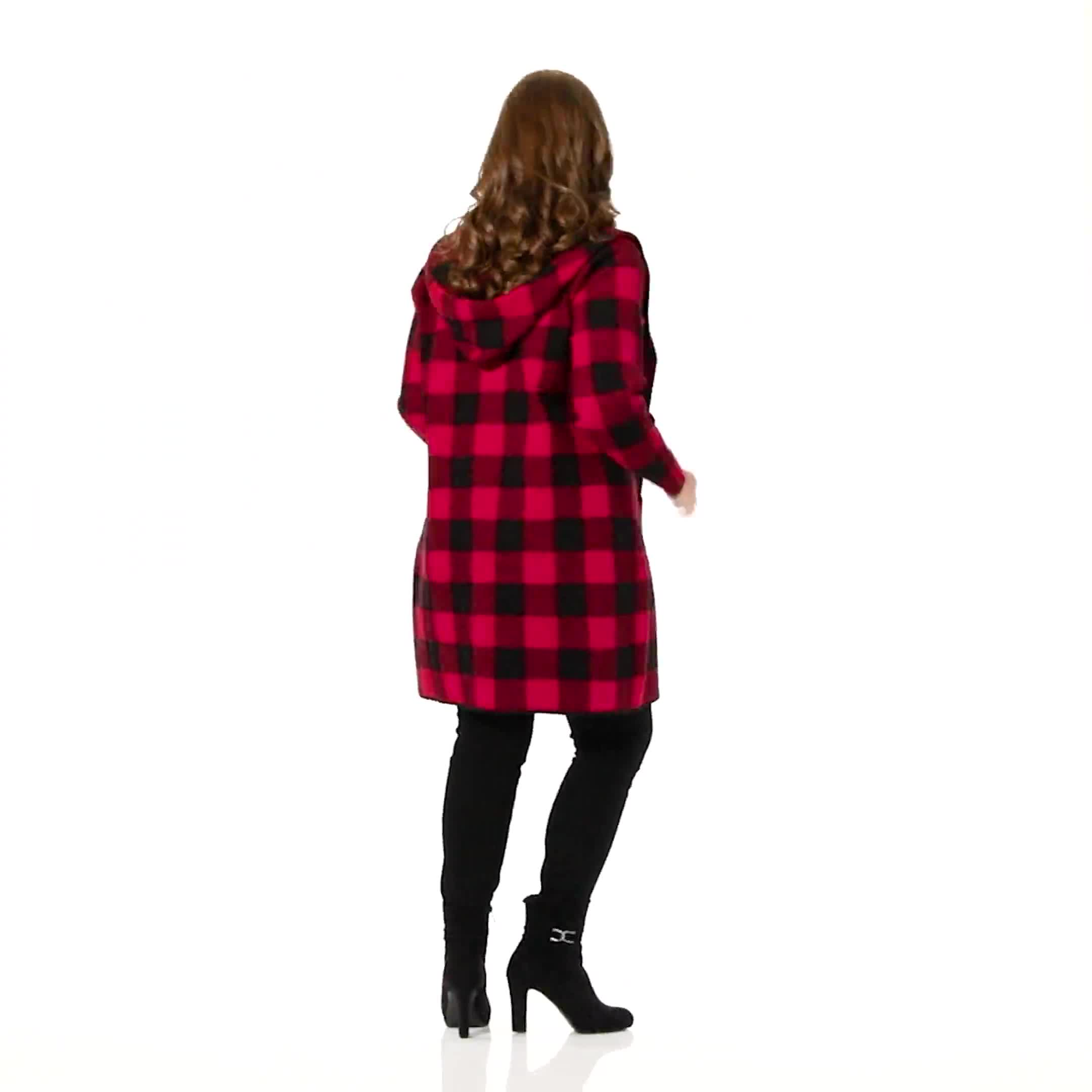 Roz & Ali Buffalo Plaid Sweater Coat - Plus - Video