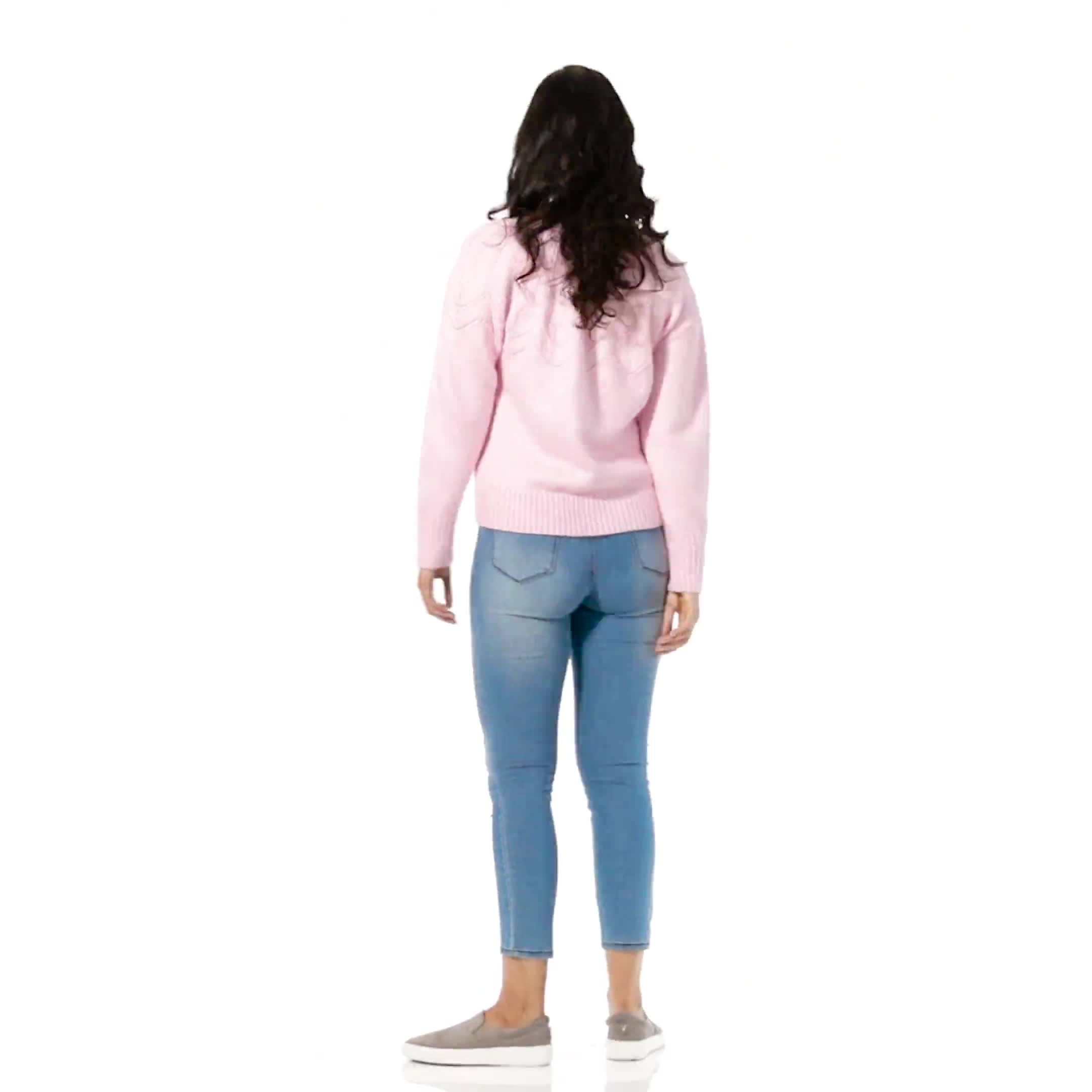 Roz & Ali Pointelle Pullover Sweater - Video