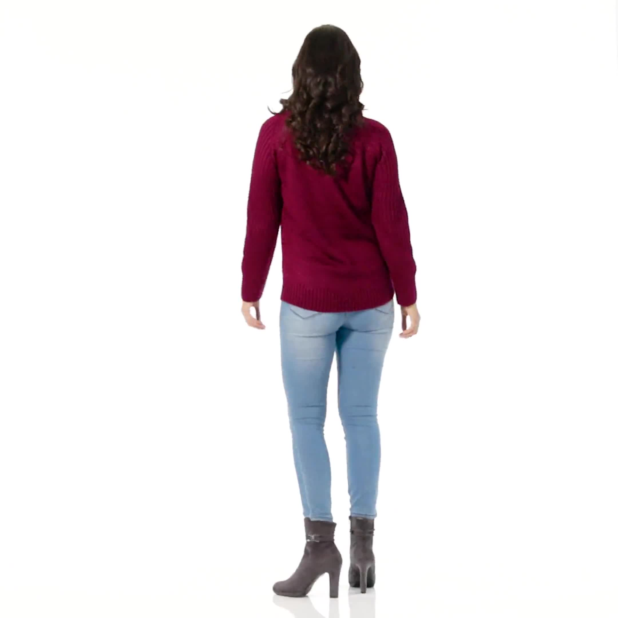 Westport Cable Detail Curved Hem Sweater - Video