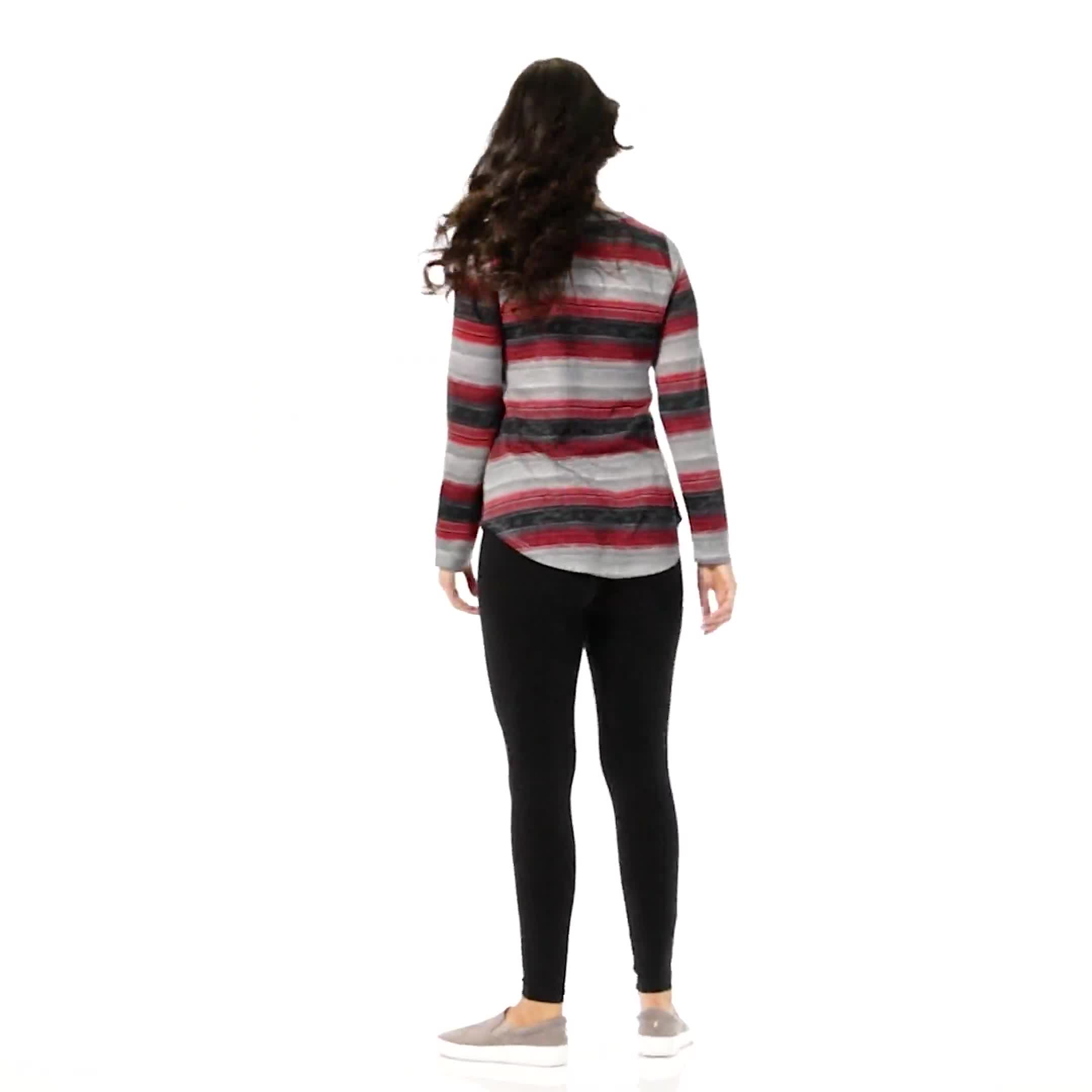 DB Sunday Lace Up Stripe Hacci Knit Top - Misses - Video