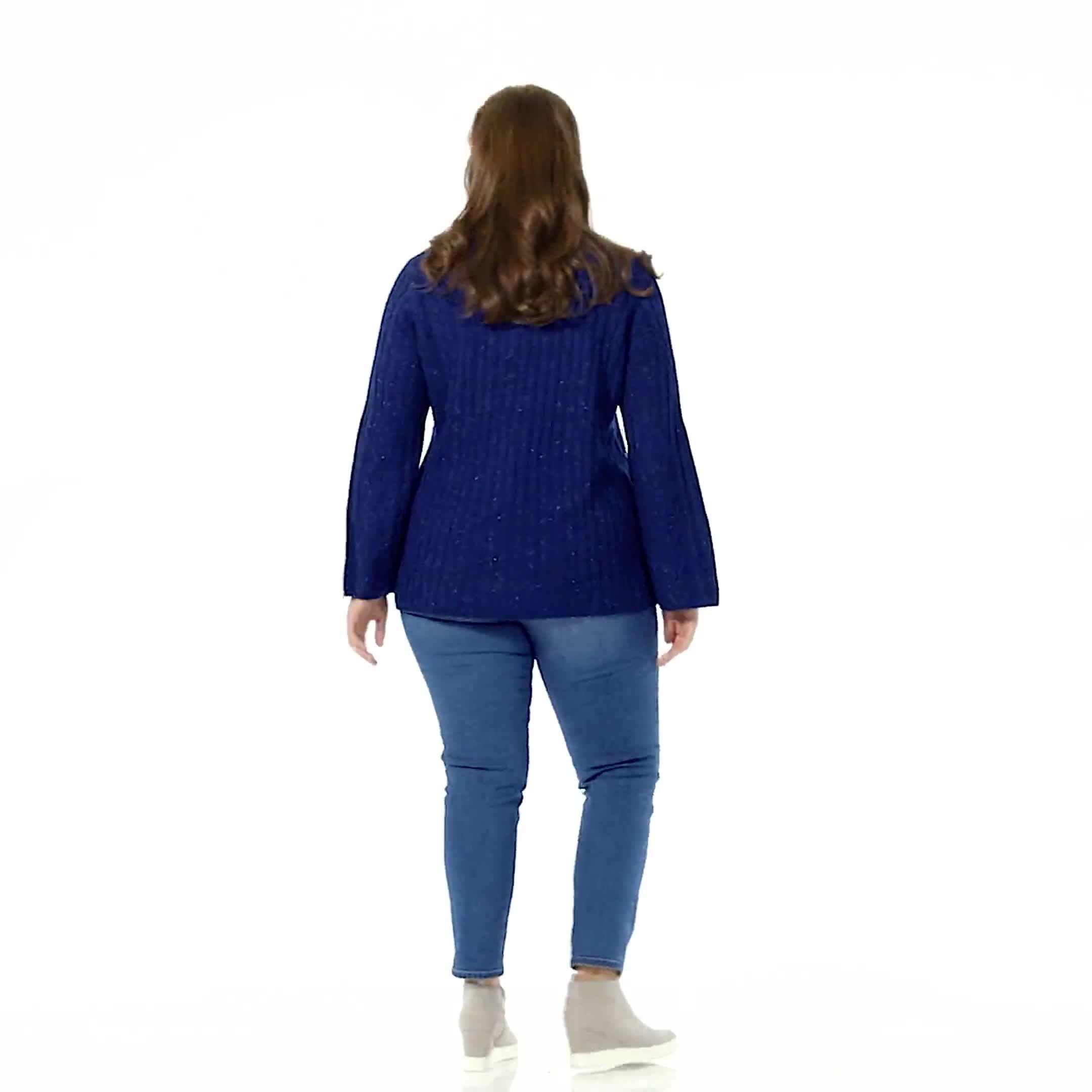 Westport Novelty Yarn Stitch Interest Sweater - Plus - Video