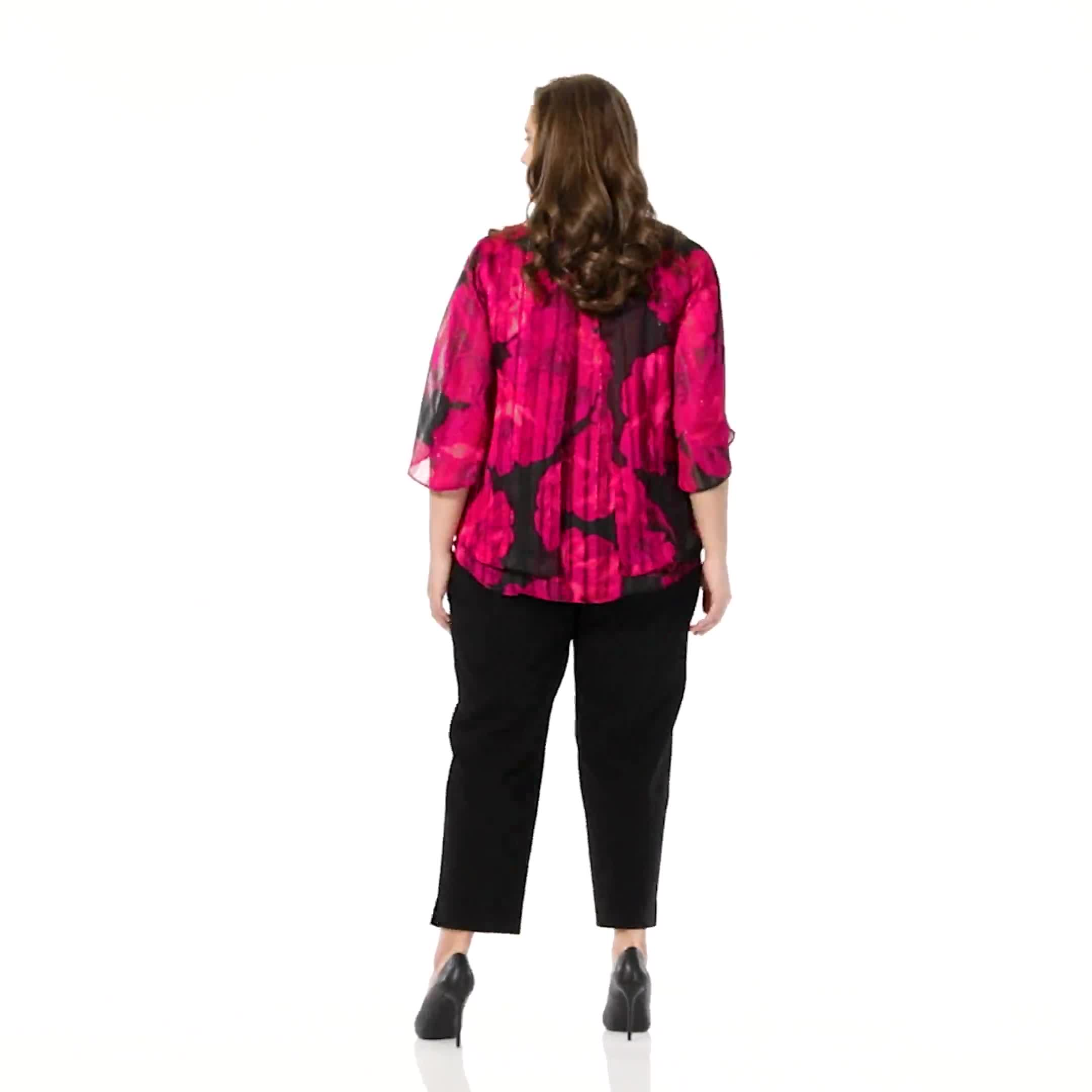 Roz & Ali Floral Lurex Fly Away Back Blouse - Video
