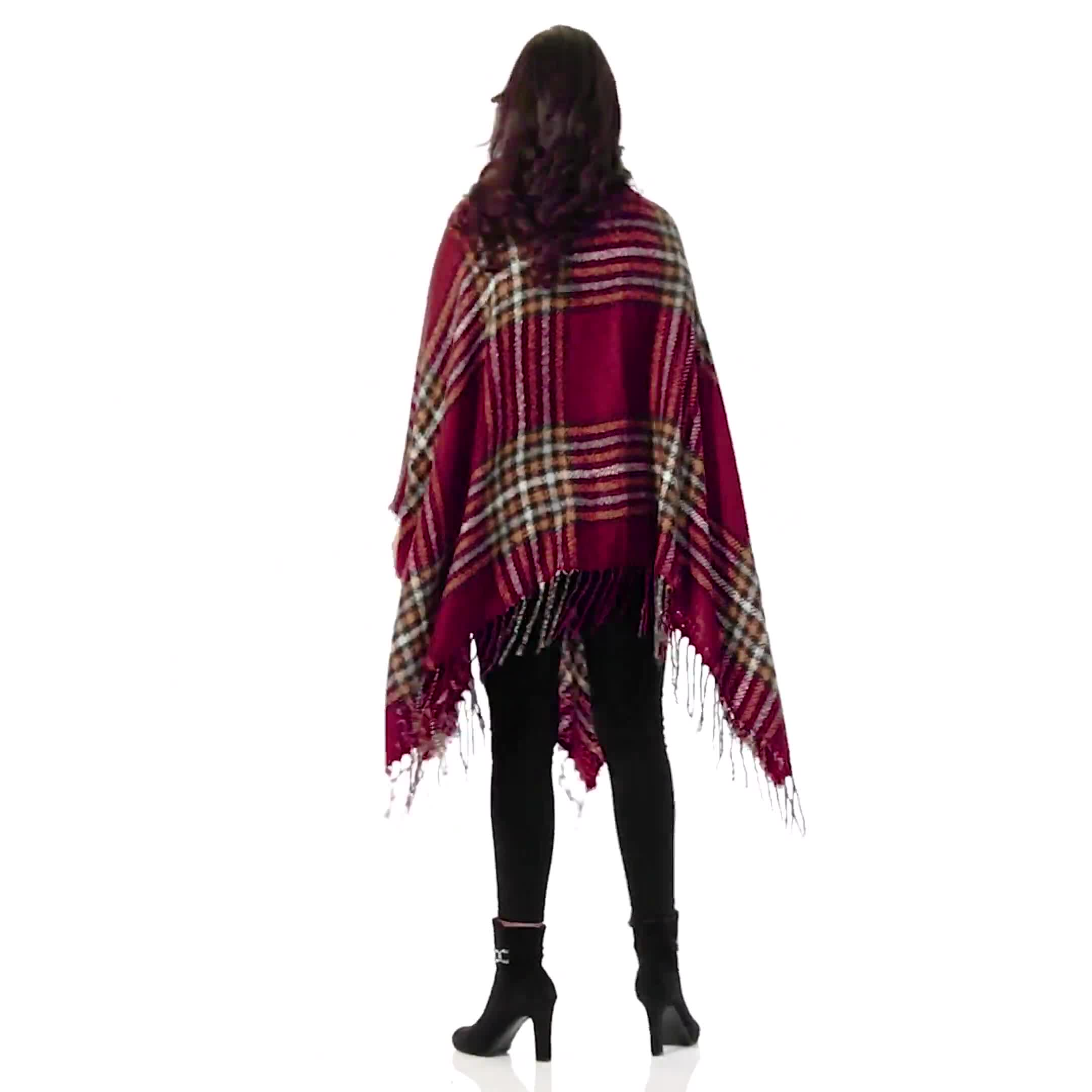 Westport Red Plaid Fringe Wrap Poncho - Video