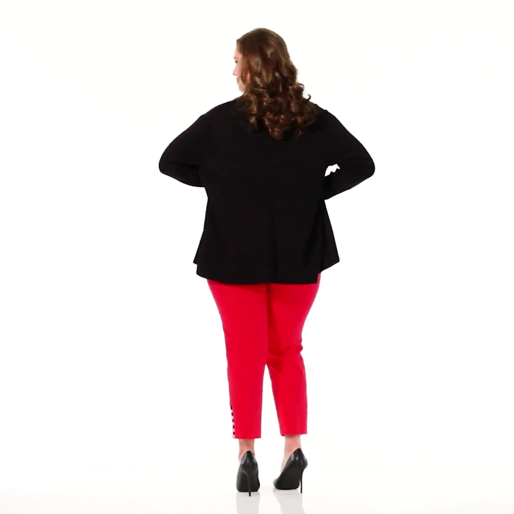 Plus Roz & Ali Pull On Superstretch Ankle Pants with Heat Seal Band Trim - Plus - Video