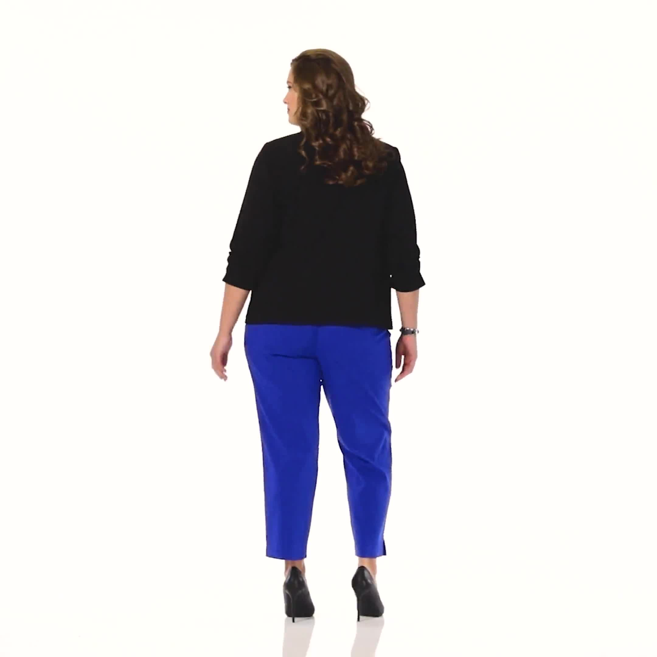 Plus Roz & Ali Superstretch Pull On Ankle Pant With Crystal Heat Seal Trim - Plus - Video