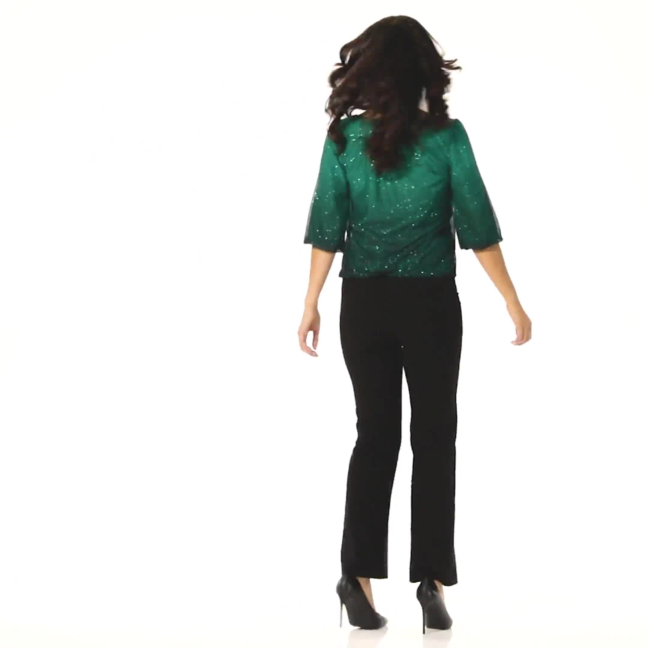 Roz & Ali Emerald Ombre Glitter Bubble Hem Blouse - Petite - Video