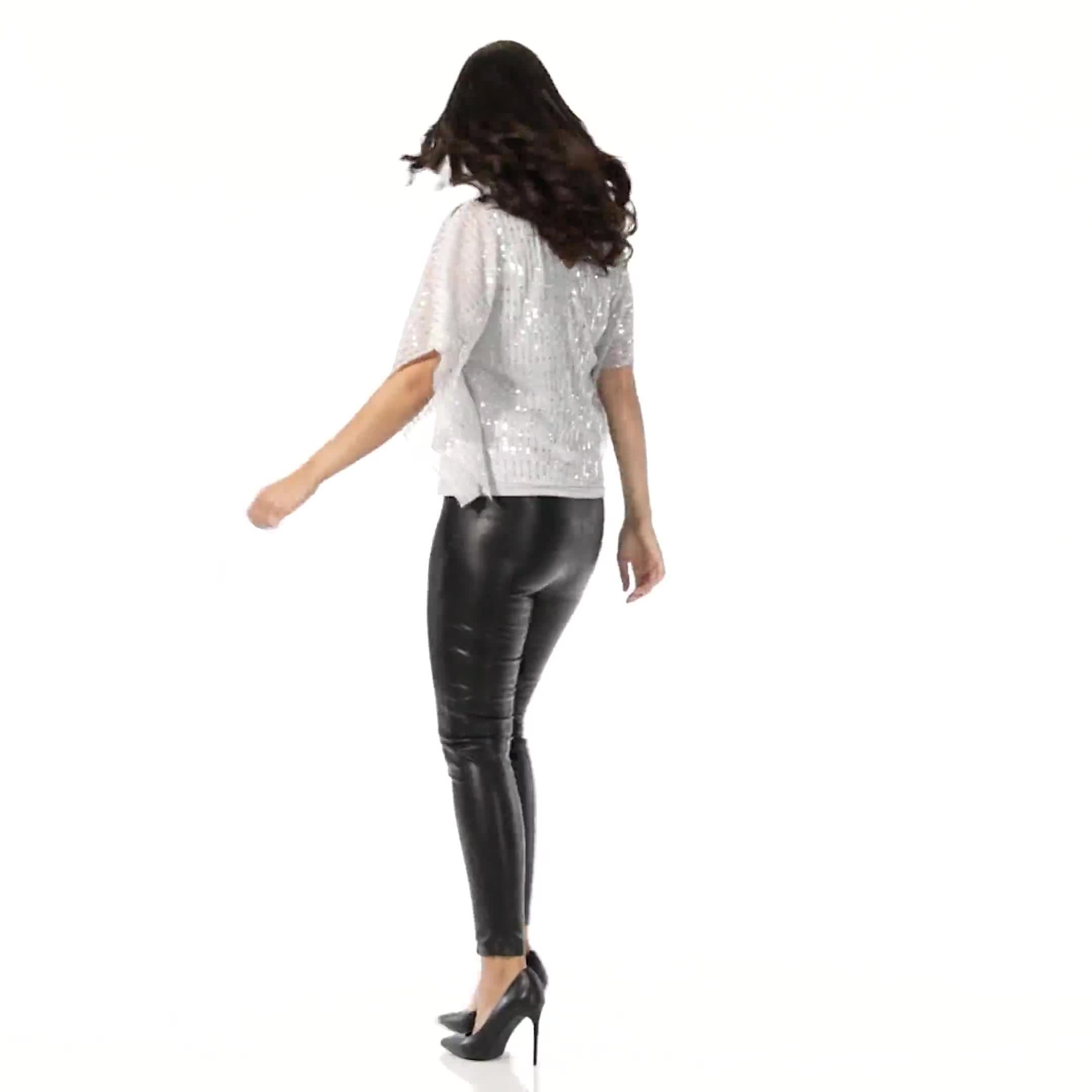 Roz & Ali Silver Sequin Bar Back Blouse - Petite - Video