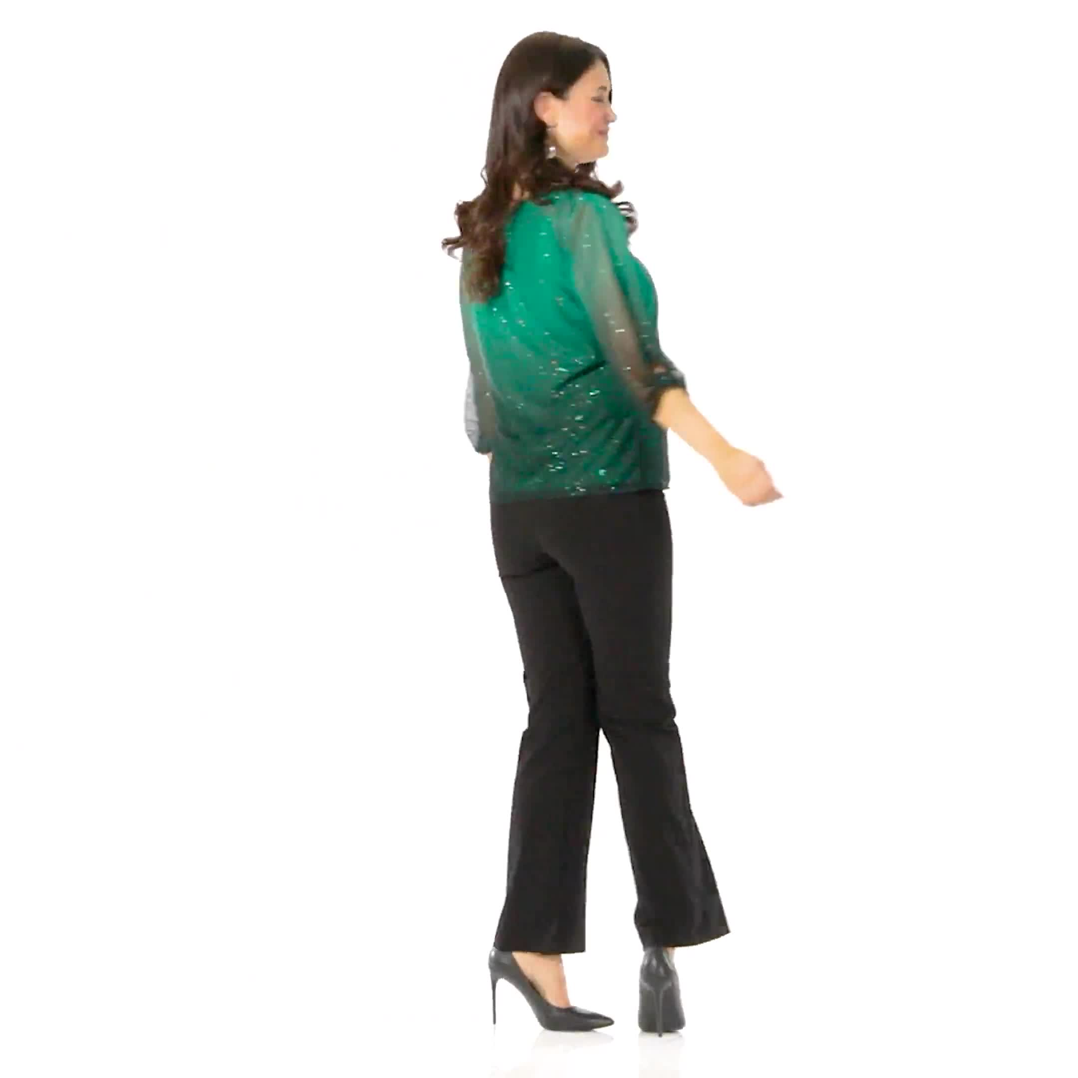 Roz & Ali Emerald Glitter Ombre Bubble Hem Blouse - Video