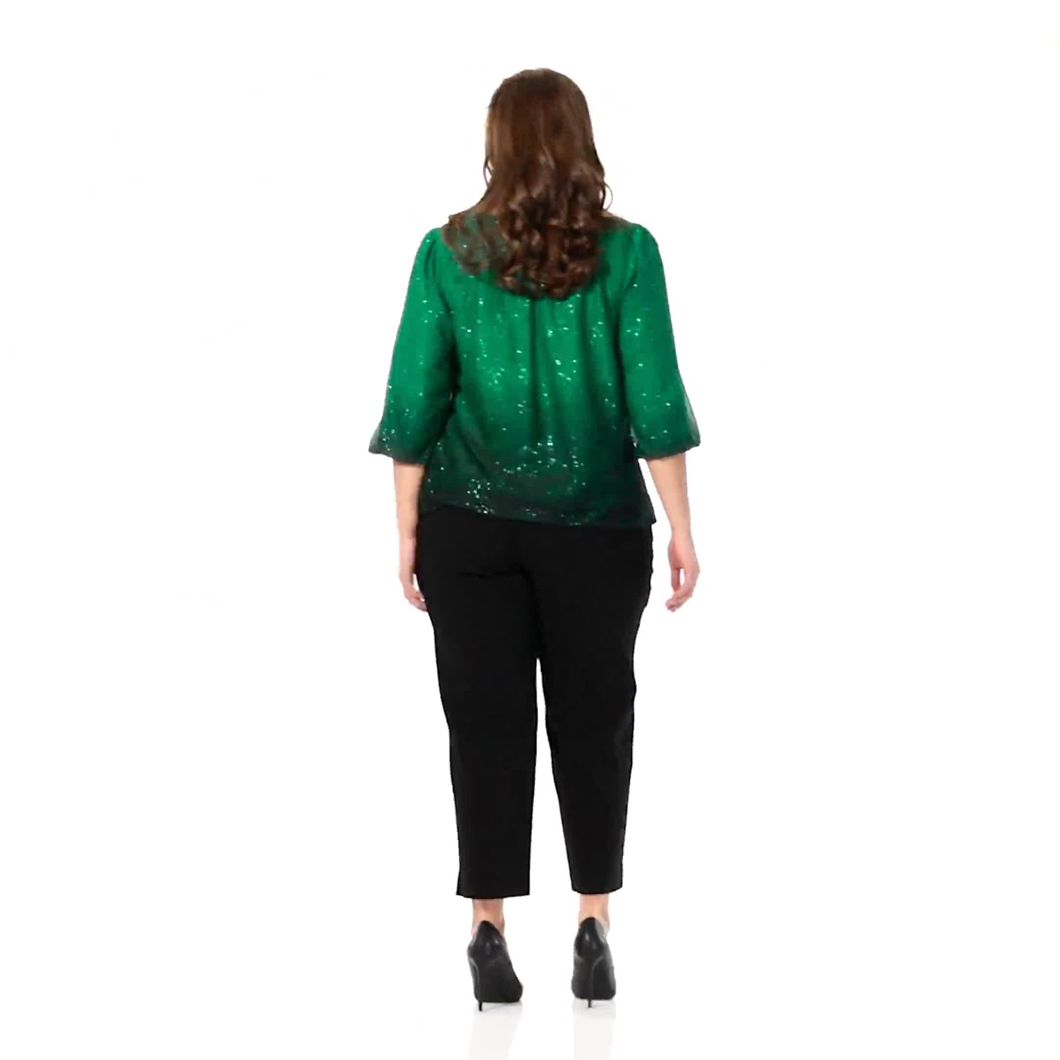 Roz & Ali Emerald Glitter Ombre Bubble Hem Blouse - Plus - Video