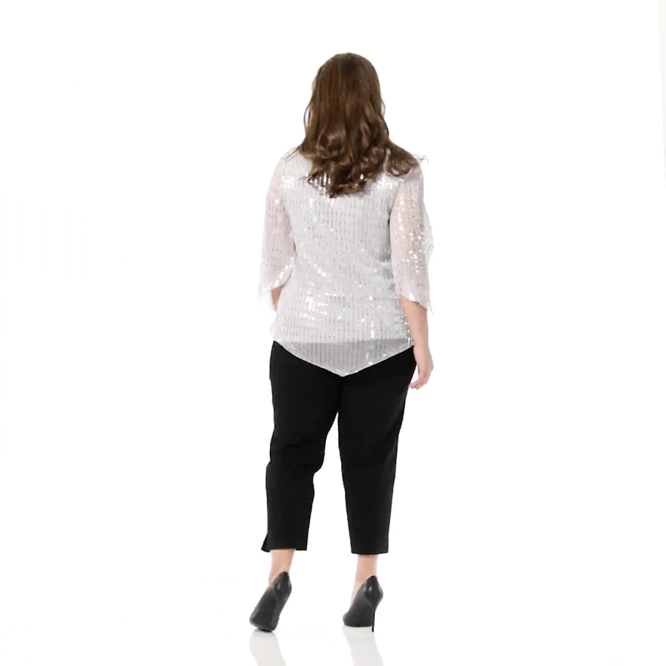 Roz & Ali Silver Sequin Angel Sleeve Blouse  - Plus - Video