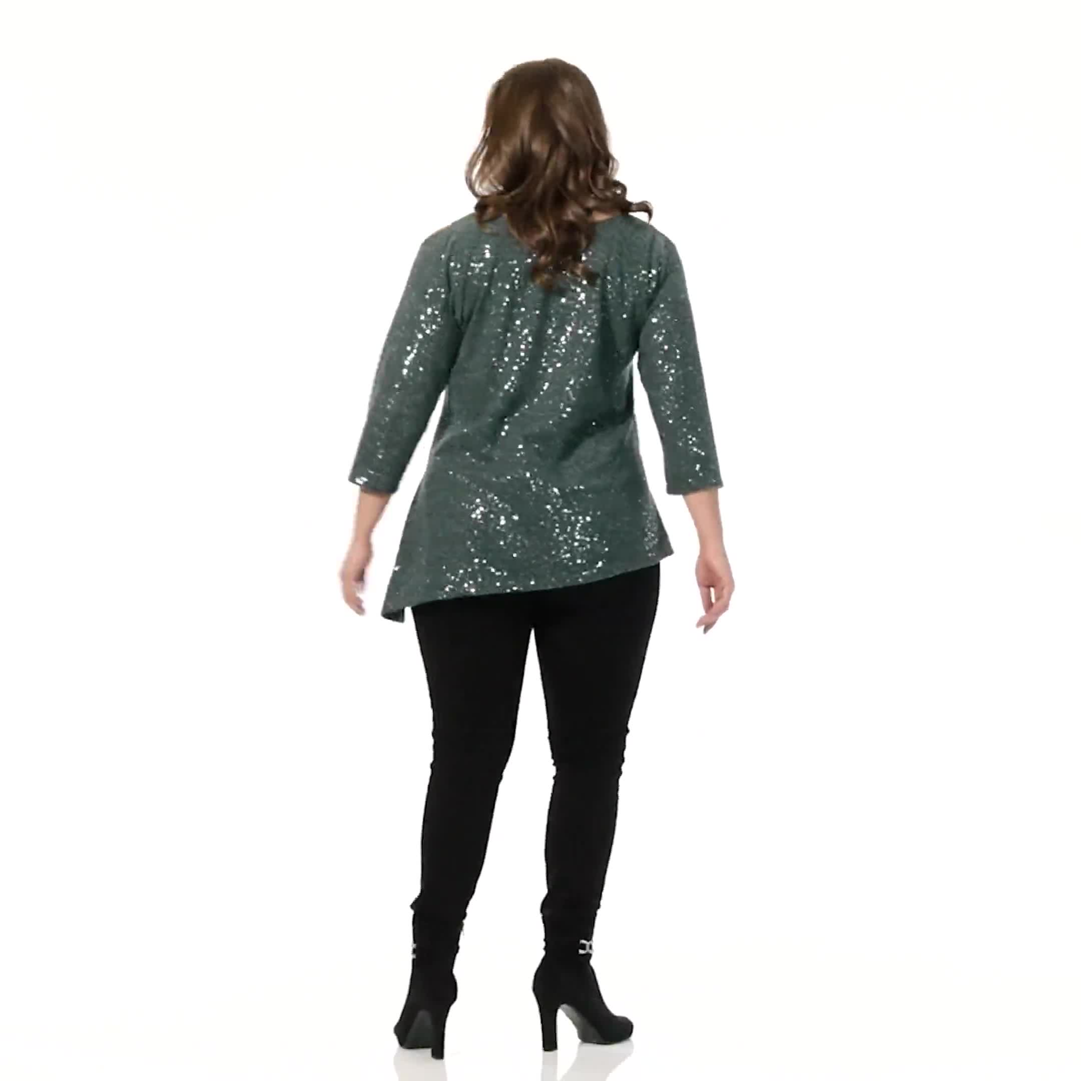 Roz & Ali Cold Shoulder Sequin Tunic Knit Top - Plus - Video