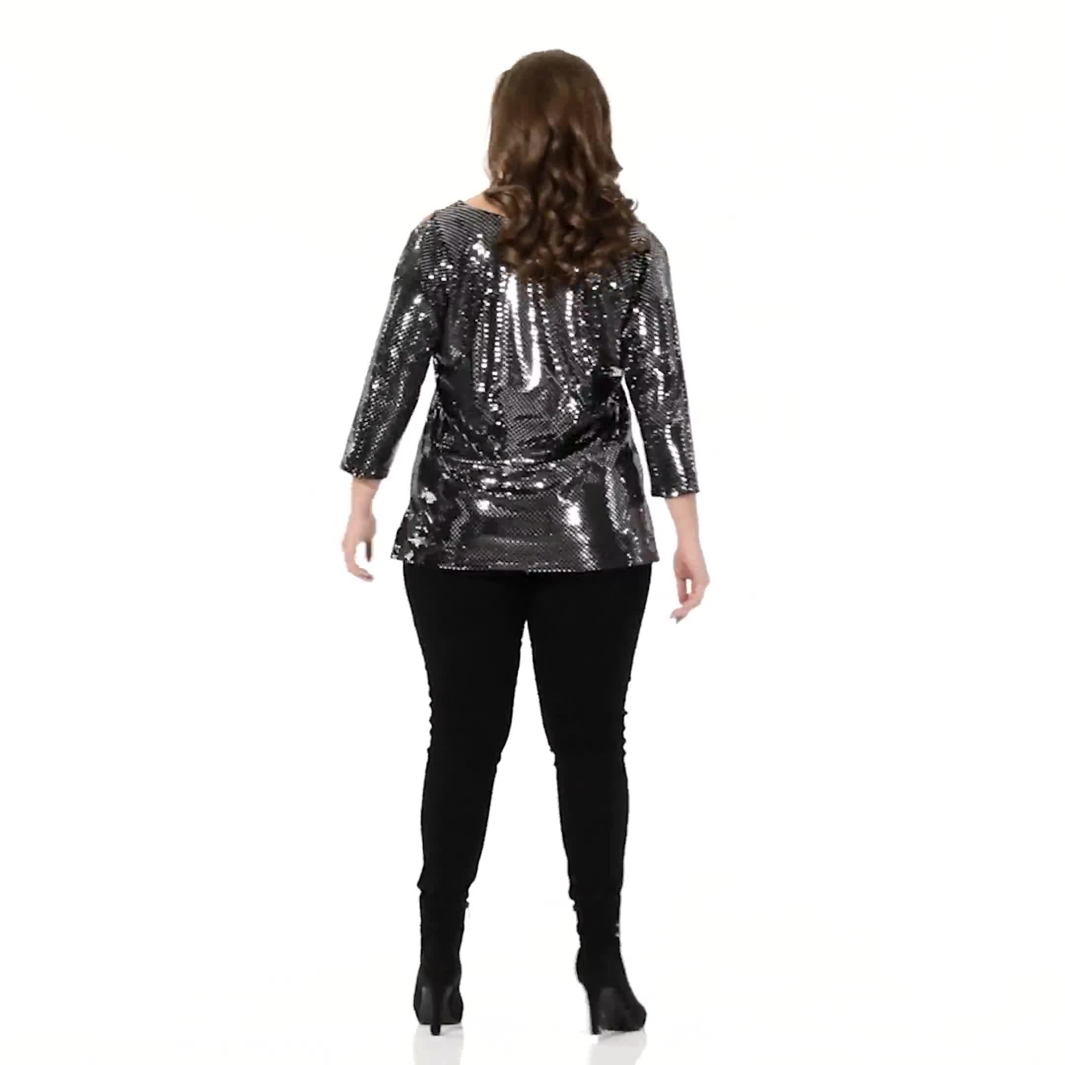 Roz & Ali Cold Shoulder Metallic Knit Top - Plus - Video