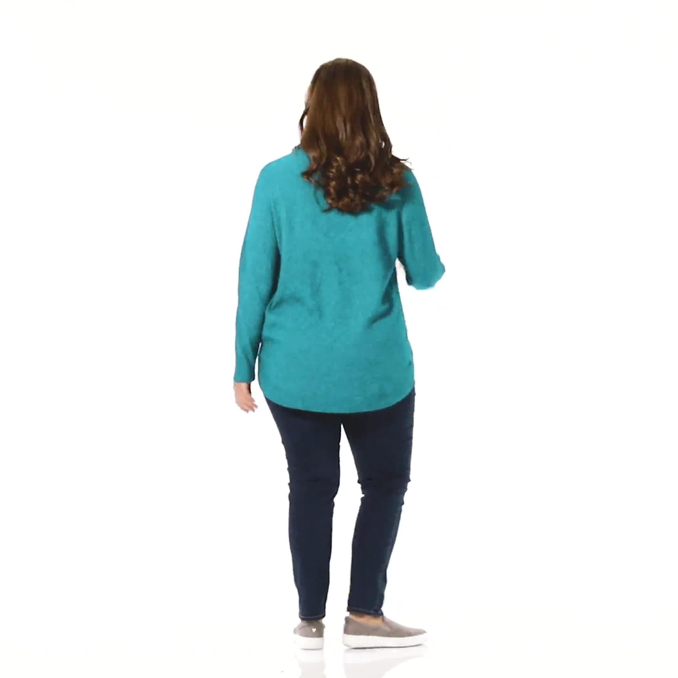 Westport Cowl Neck Curved Hem Sweater - Plus - Video