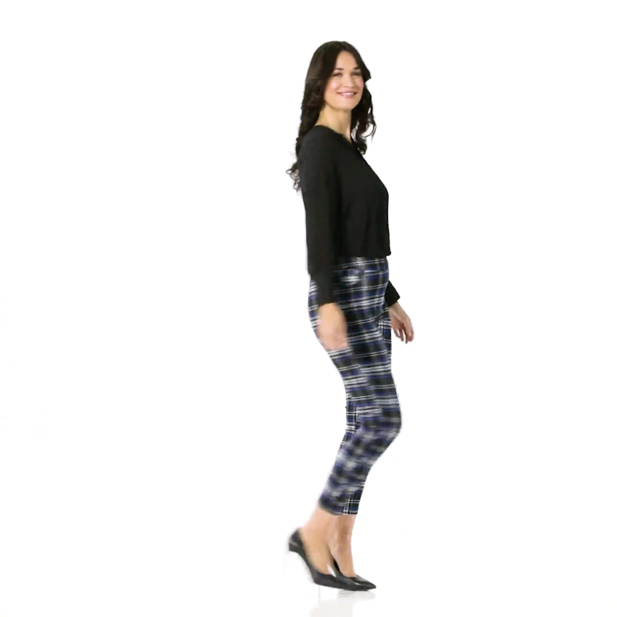 High Rise Plaid Pull On  Jean Style Ankle Pant - Video