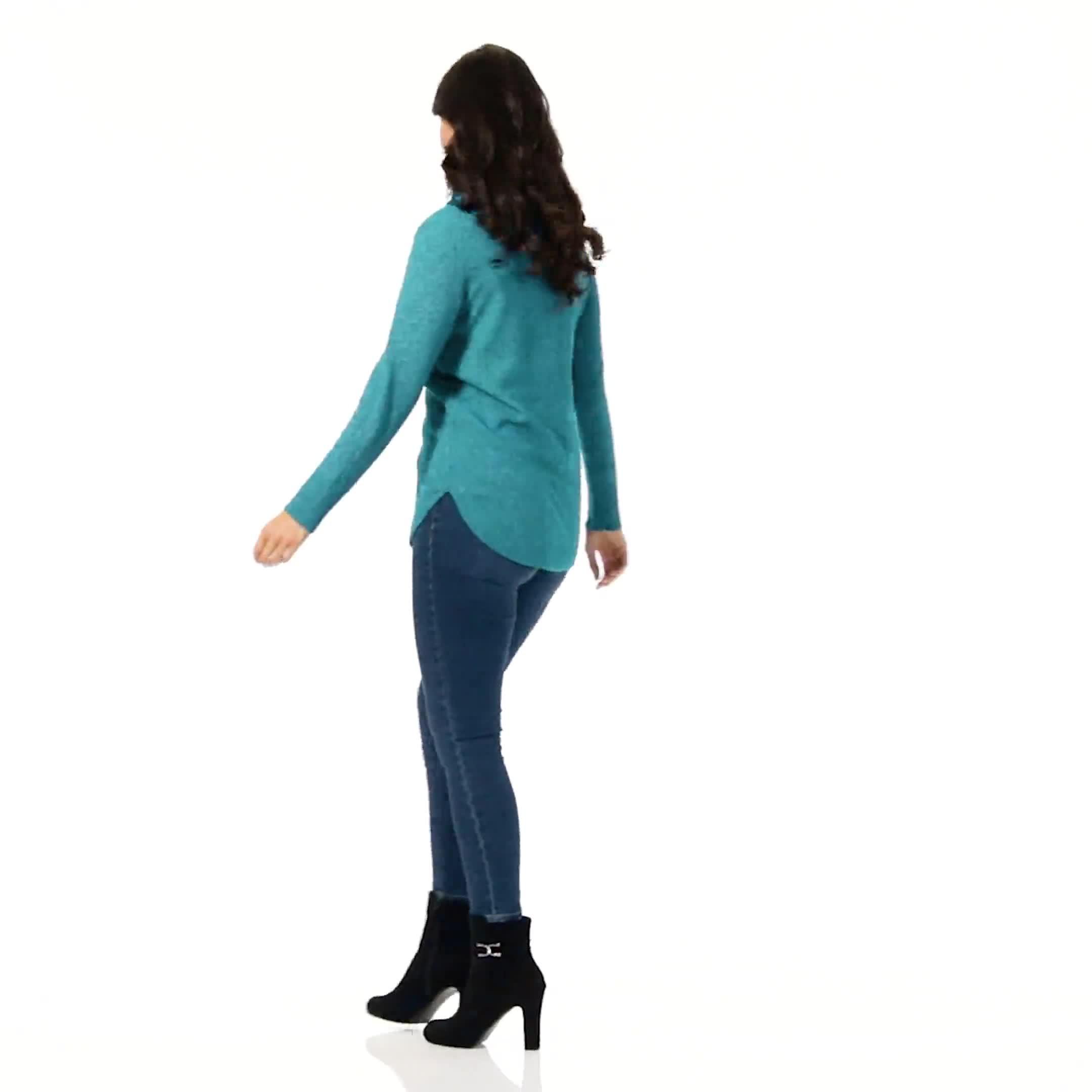 Westport Cowl Neck Curved Hem Sweater - Video