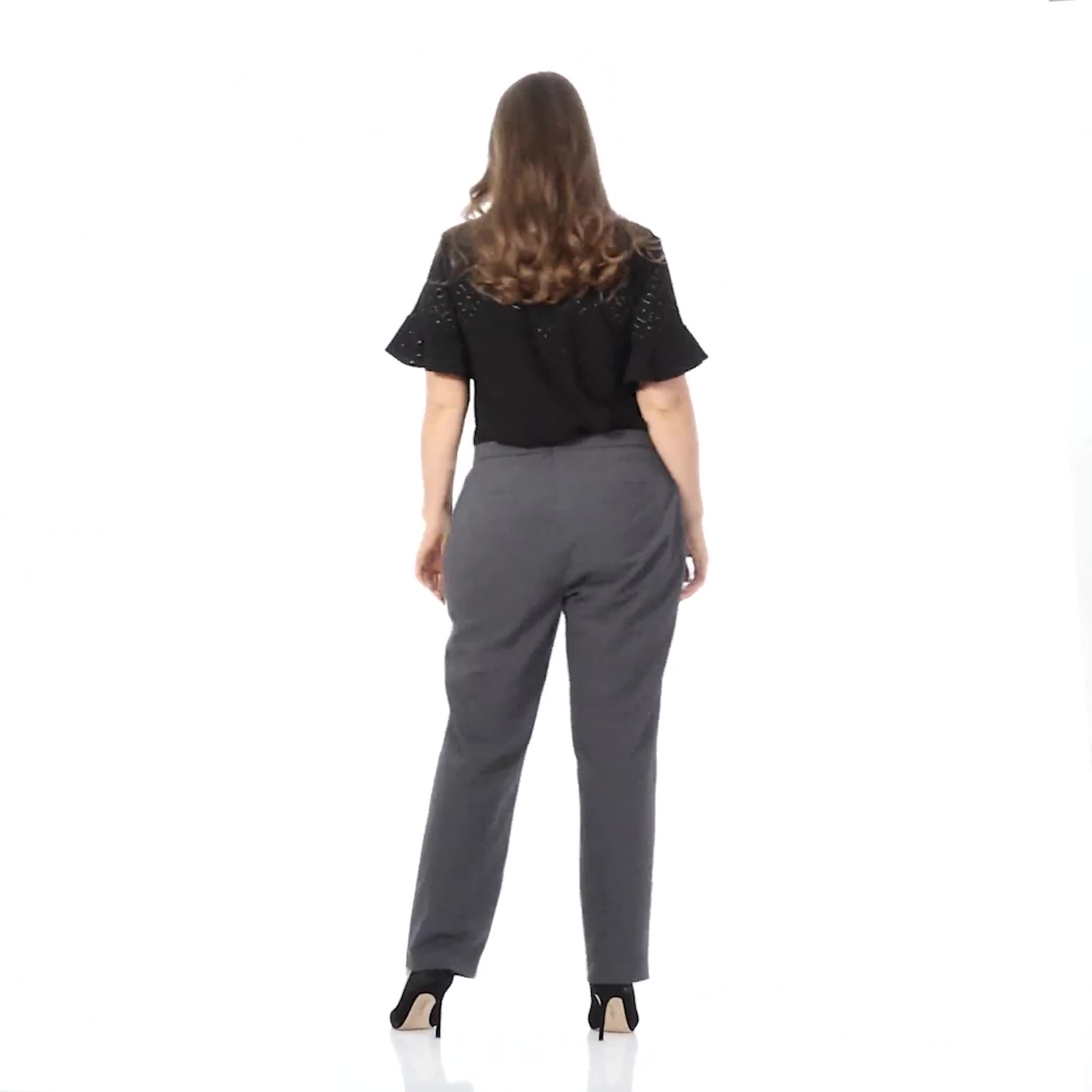 Plus Roz & Ali  Plus Secret Agent Trouser  Pants with Cat Eye Pockets & Zip - Video