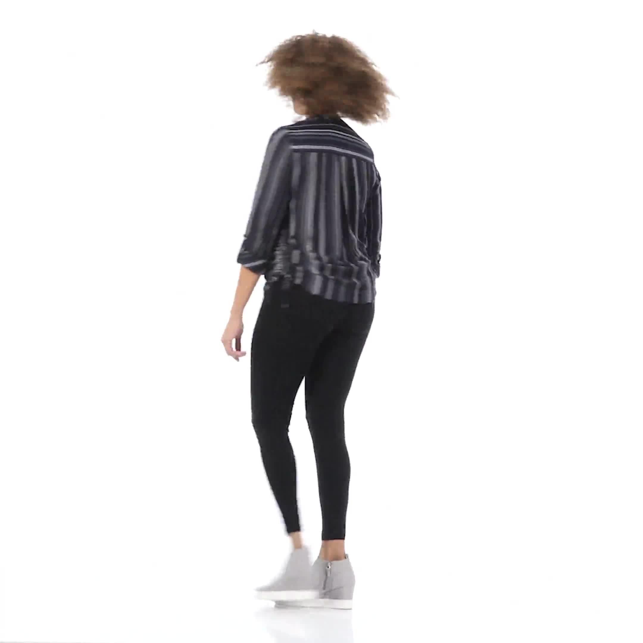 Roz & Ali Stripe Side Tie Blouse - Video