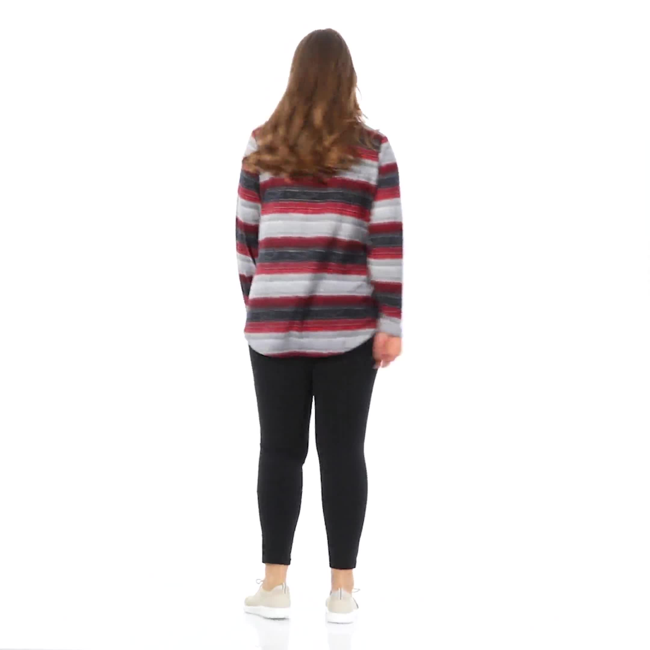DB Sunday Lace Up Stripe Hacci Knit Top - Plus - Video