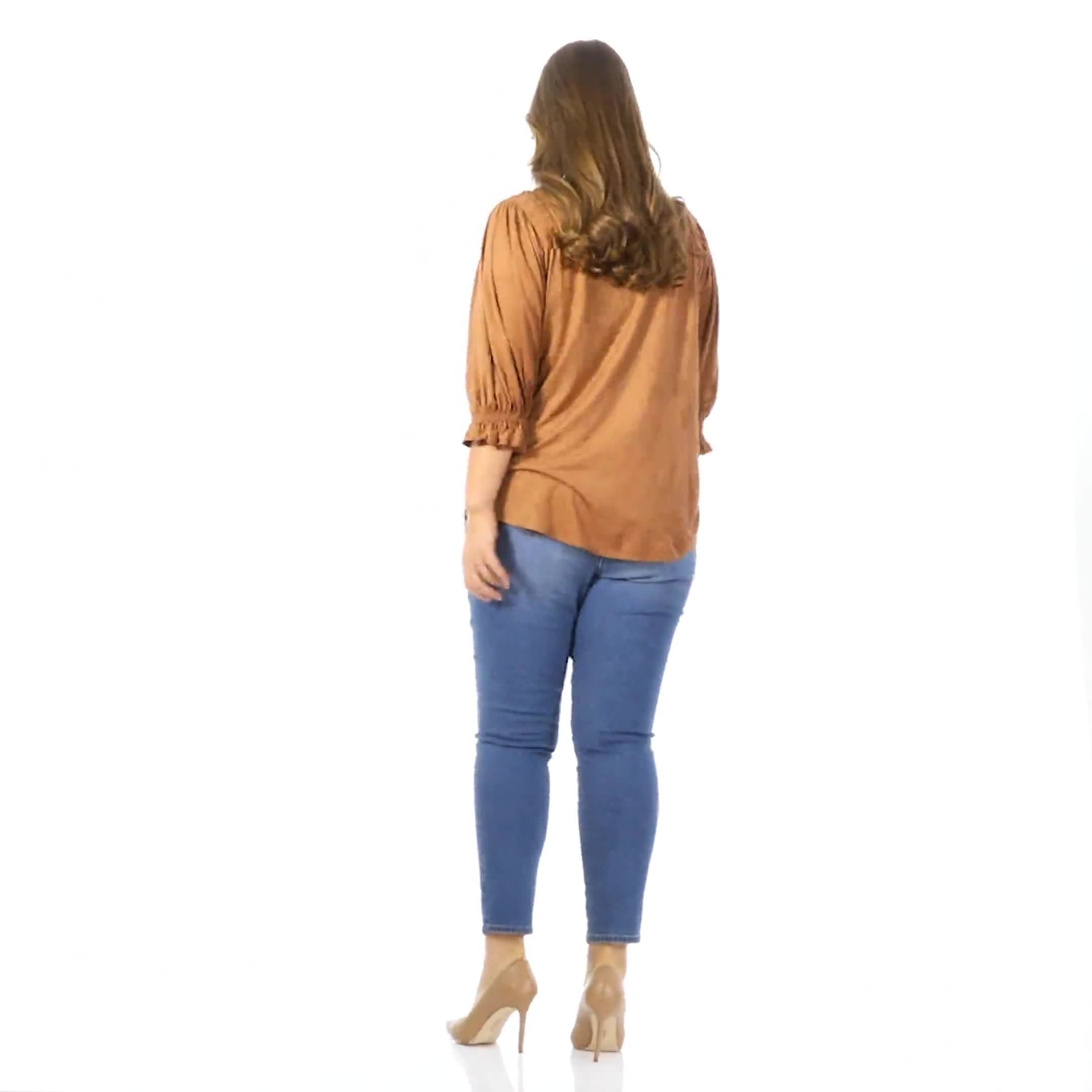 Ruched Shoulder Suede Knit Top - Plus - Video