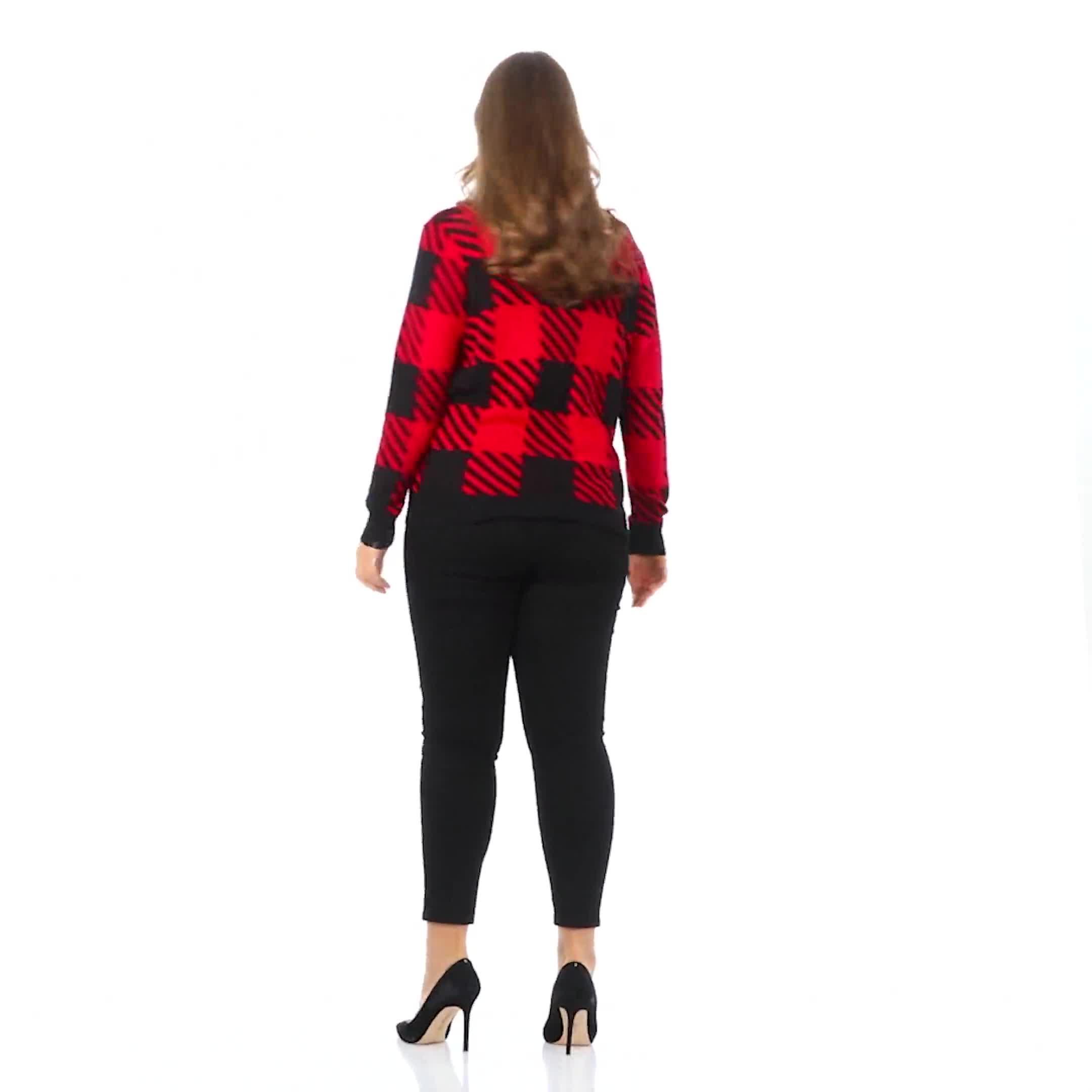 Roz & Ali Buffalo Plaid Pullover Sweater - Plus - Video