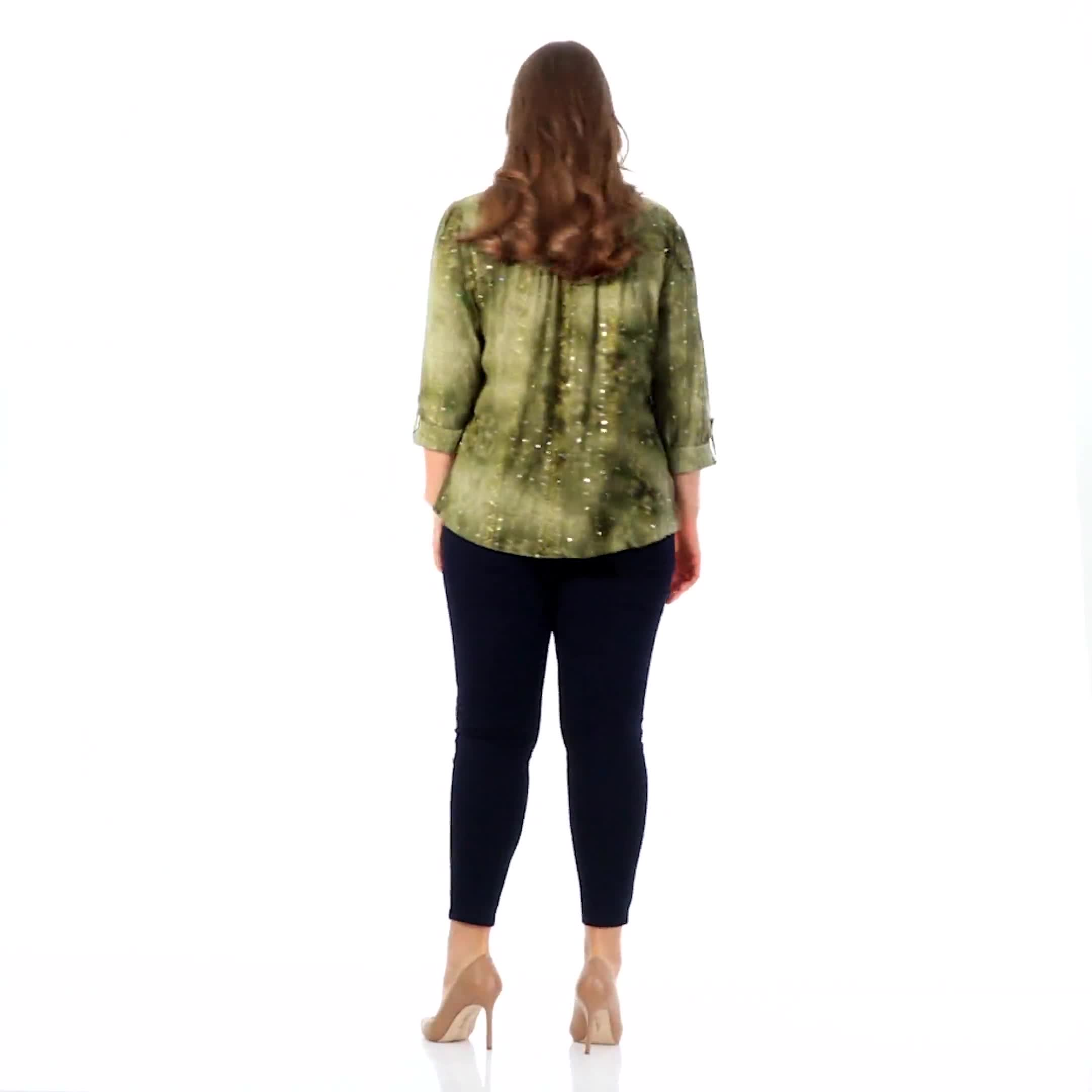Roz & Ali Sequin Tie Dye Popover - Plus - Video