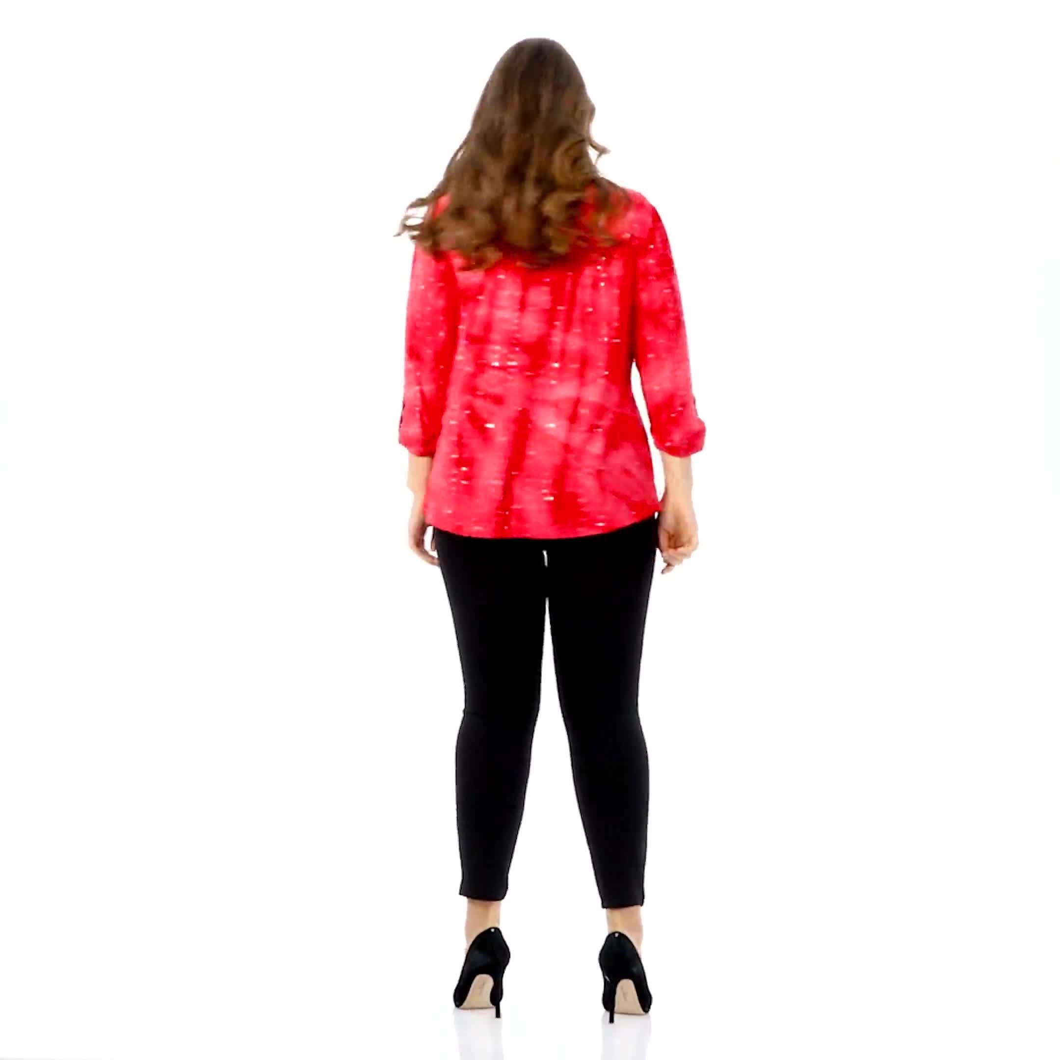 Roz & Ali Red Sequin Tie Dye Popover - Plus - Video