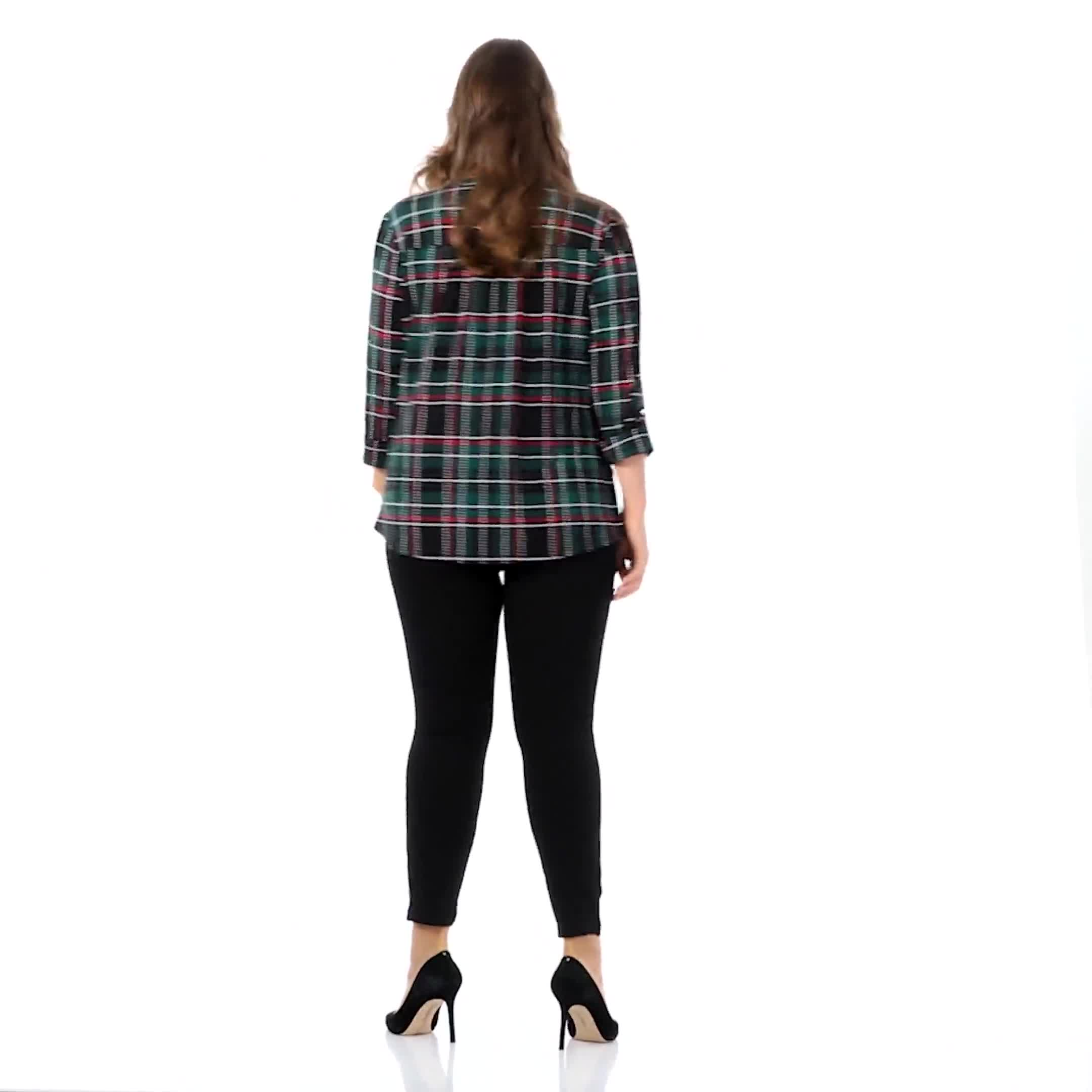 Roz & Ali Green Tartan Pintuck Plaid Popover  - Plus - Video