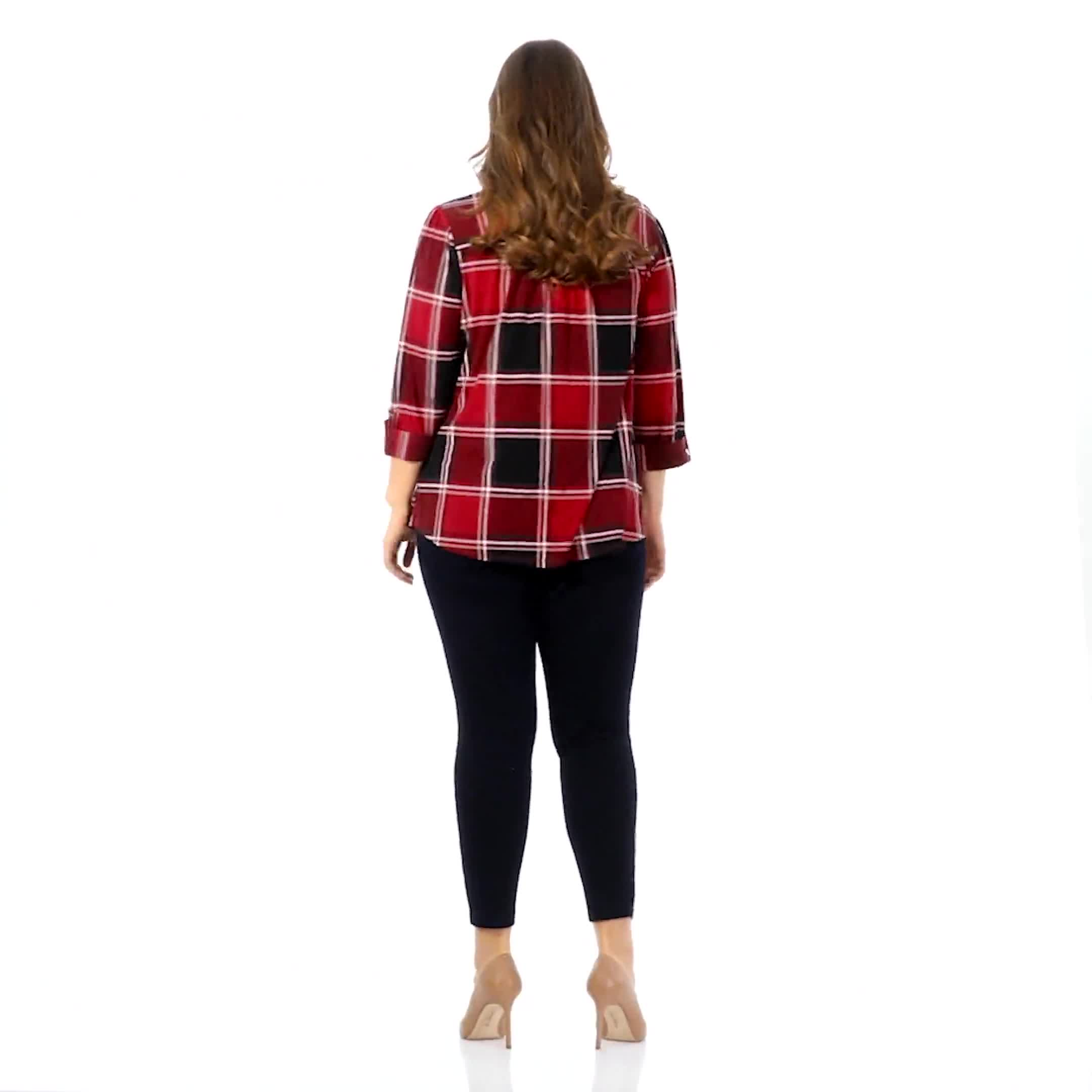 Roz & Ali Red and Black Plaid Pintuck Popover - Plus - Video