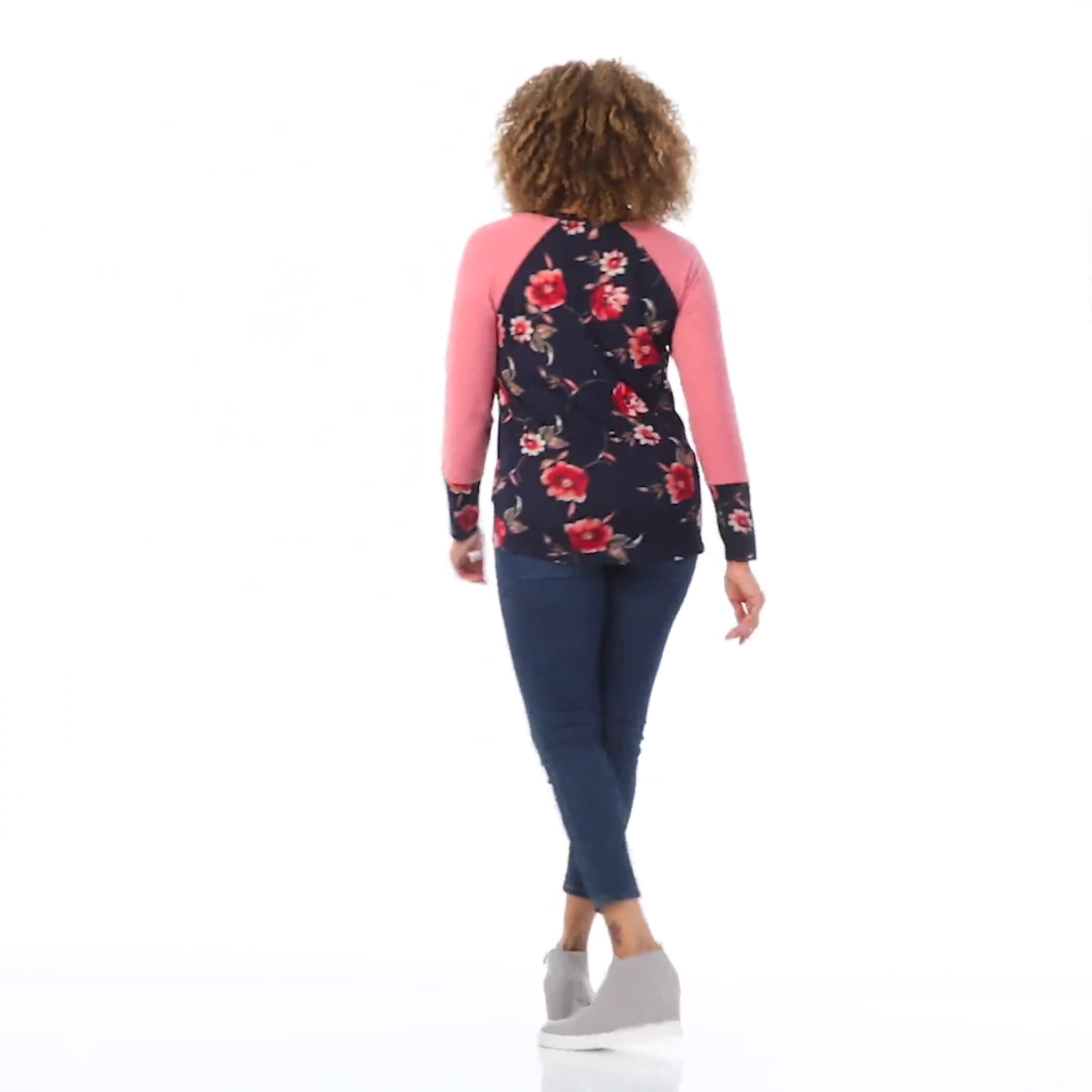 Westport Floral Hacci Twist Front Mix Media Knit Top - Video
