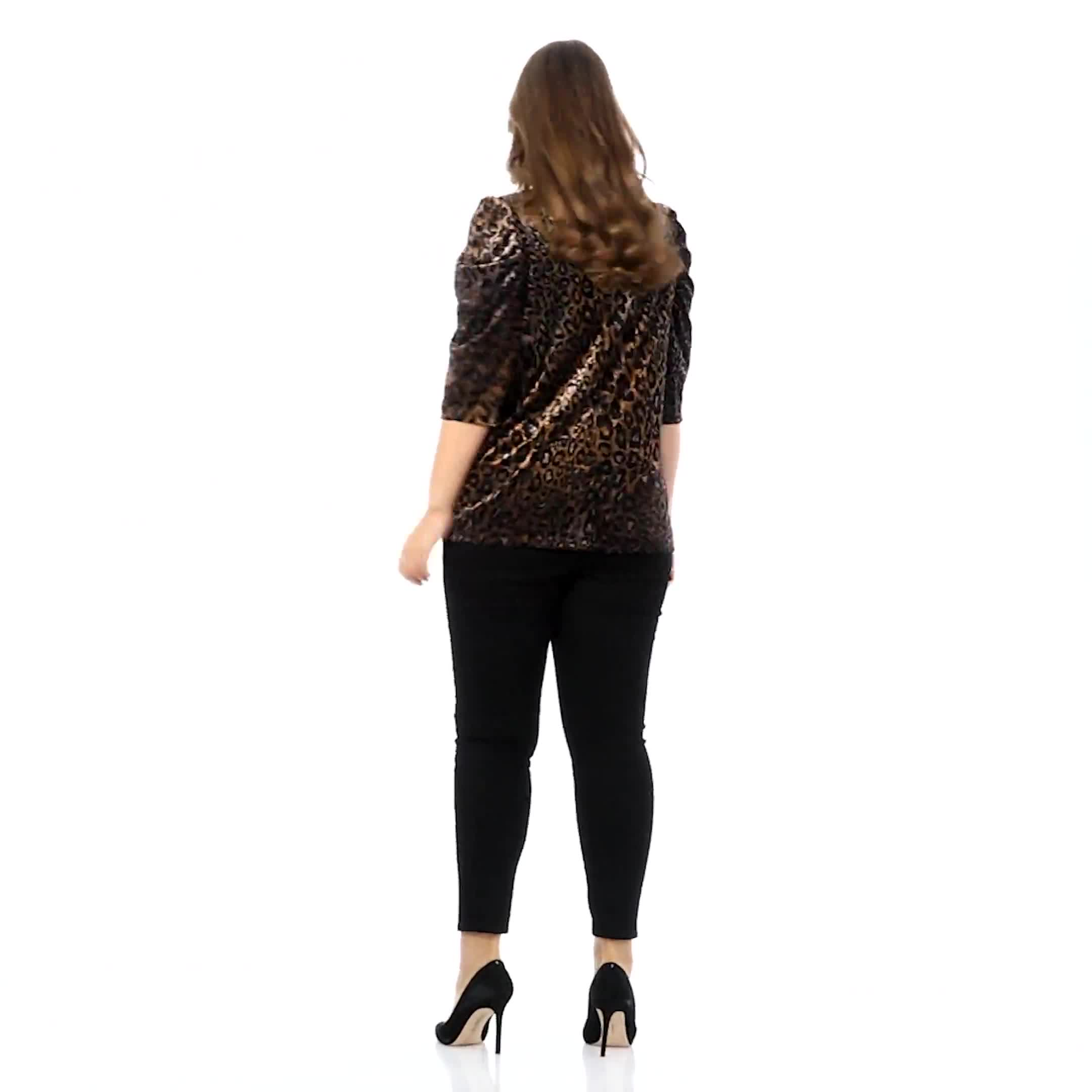 Roz & Ali  Puff Sleeve Velvet Burnout Knit Top - Plus - Video