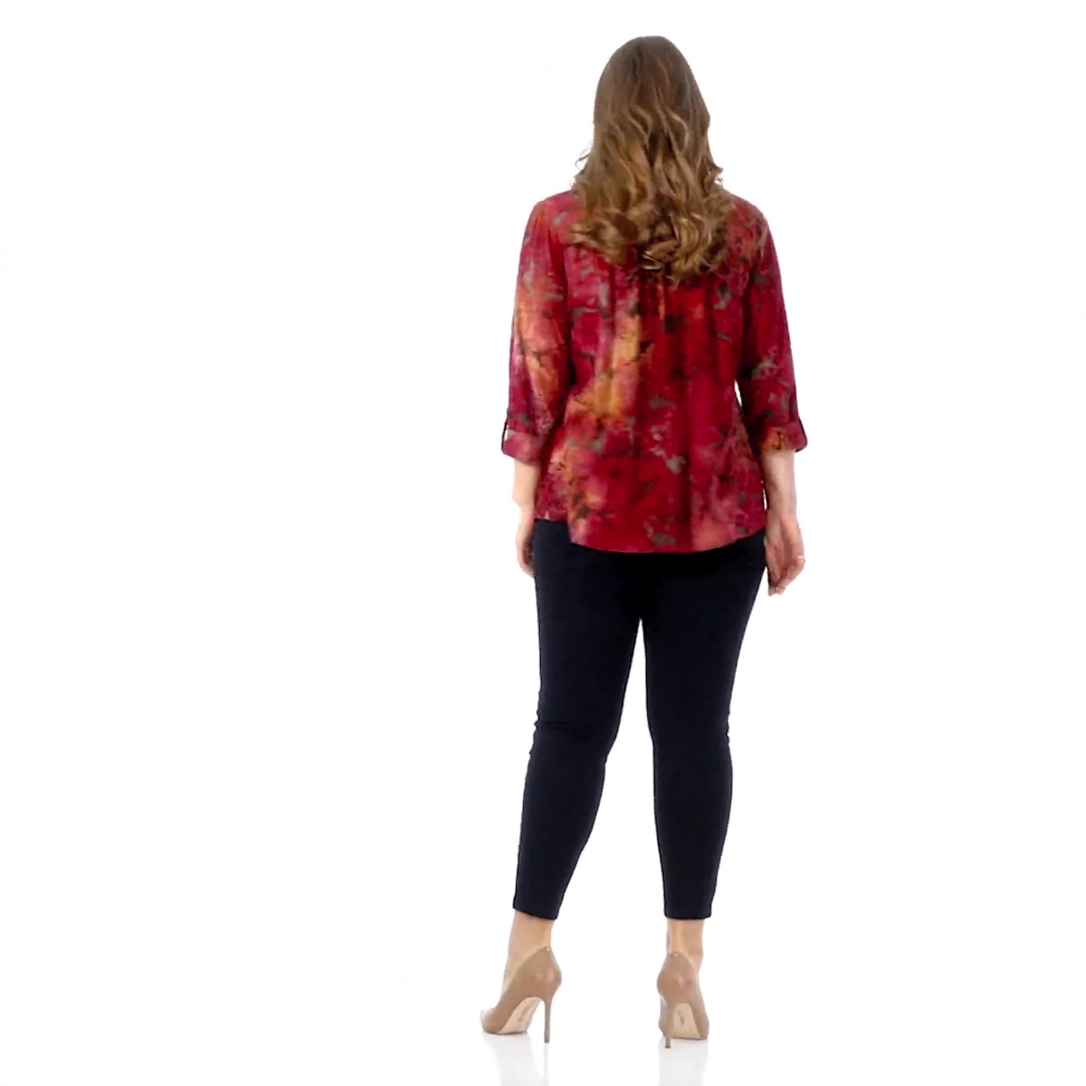Wine Tie Dye Floral Jaquard Popover - Plus - Video